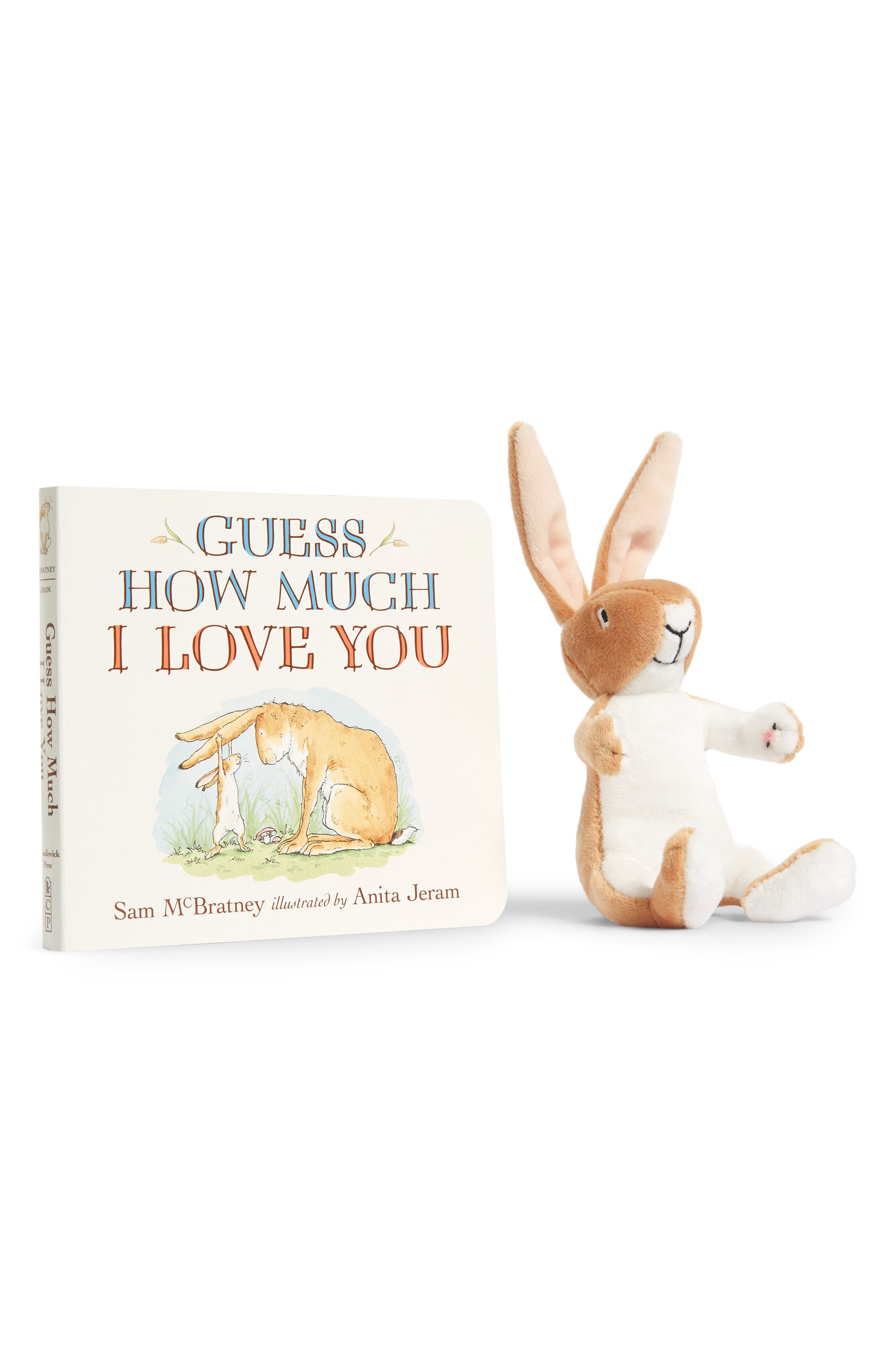 PENGUIN RANDOM HOUSE, 'Guess How Much I Love You' Board Book & Stuffed Animal Set, Main thumbnail 1, color, LIGHT BEIGE