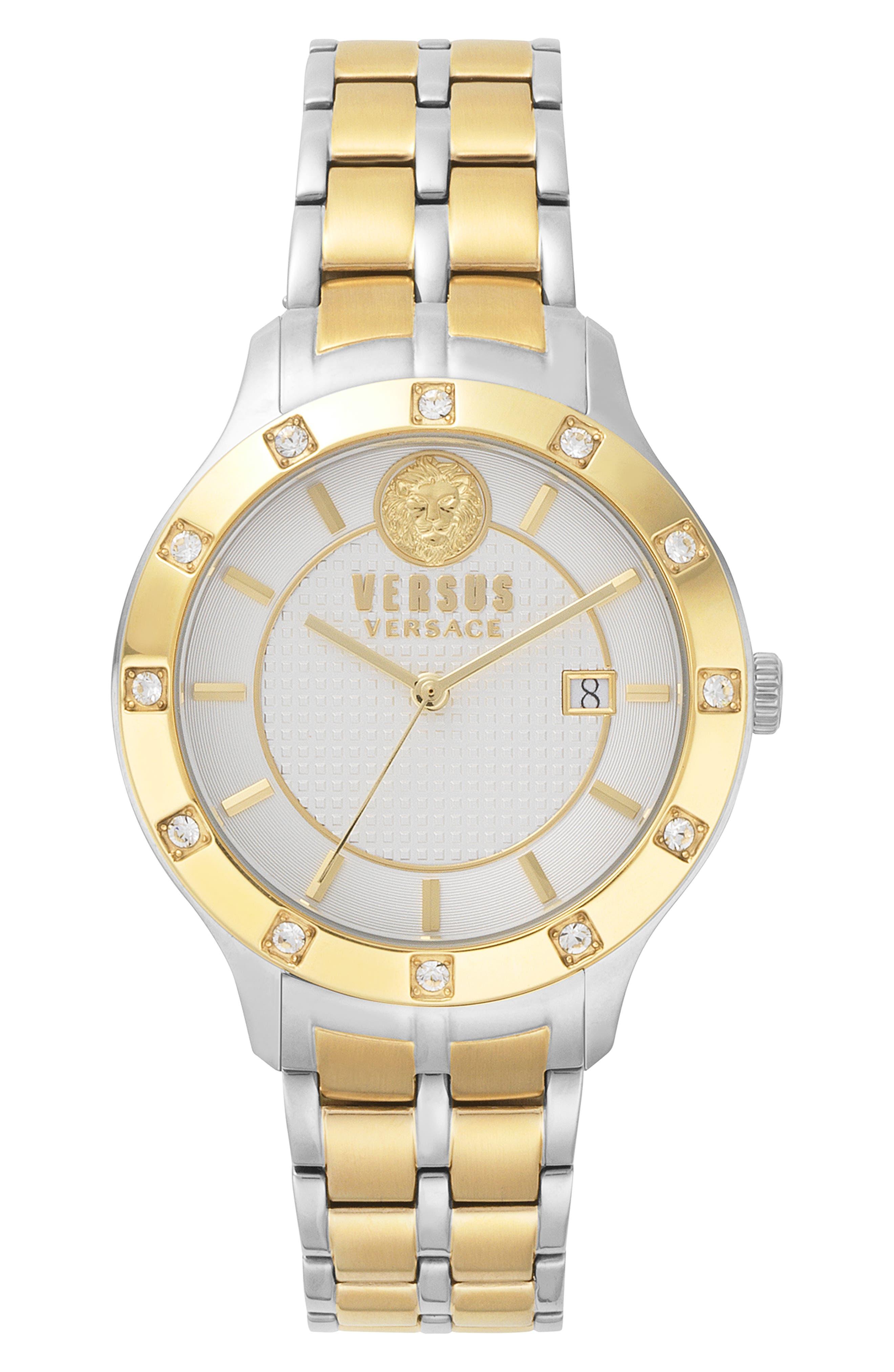 VERSUS VERSACE Brackenfell Swarovski Bracelet Watch, 38mm, Main, color, GOLD/ SILVER