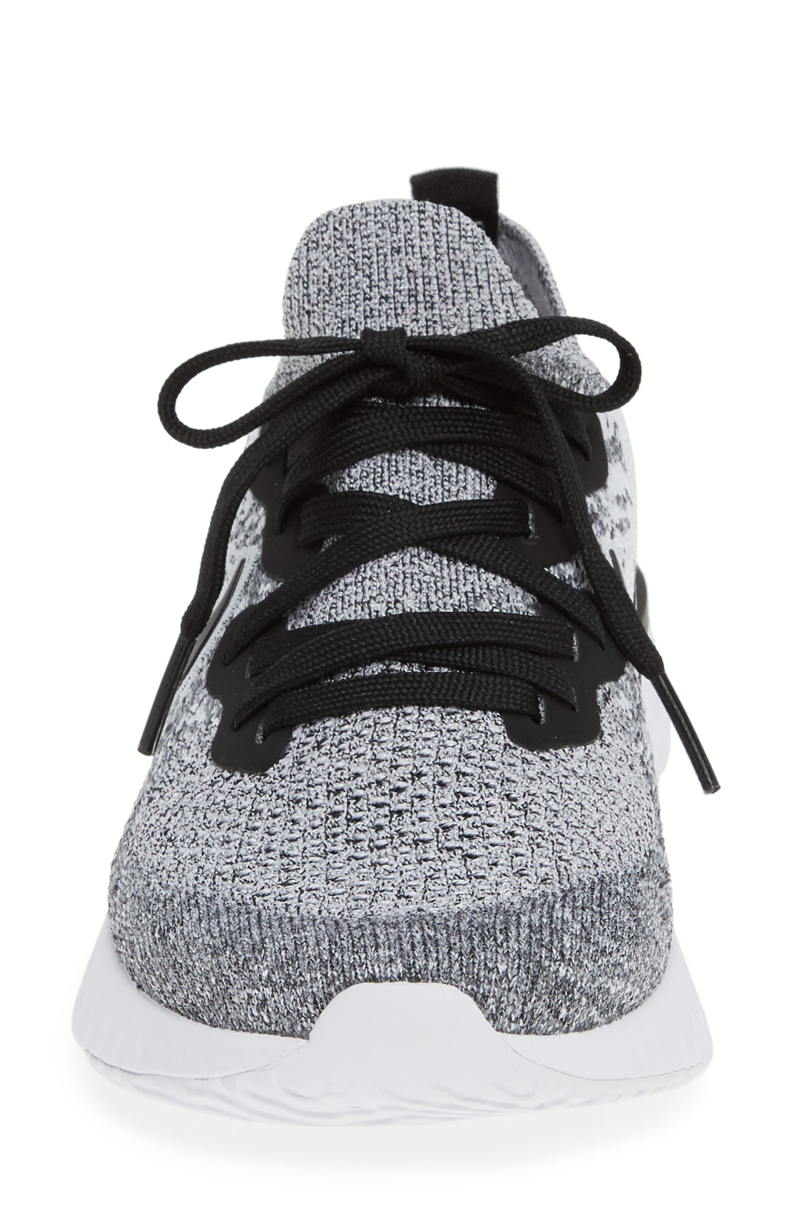 NIKE, Epic React Flyknit 2 Running Shoe, Alternate thumbnail 4, color, WHITE/ BLACK/ PURE PLATINUM