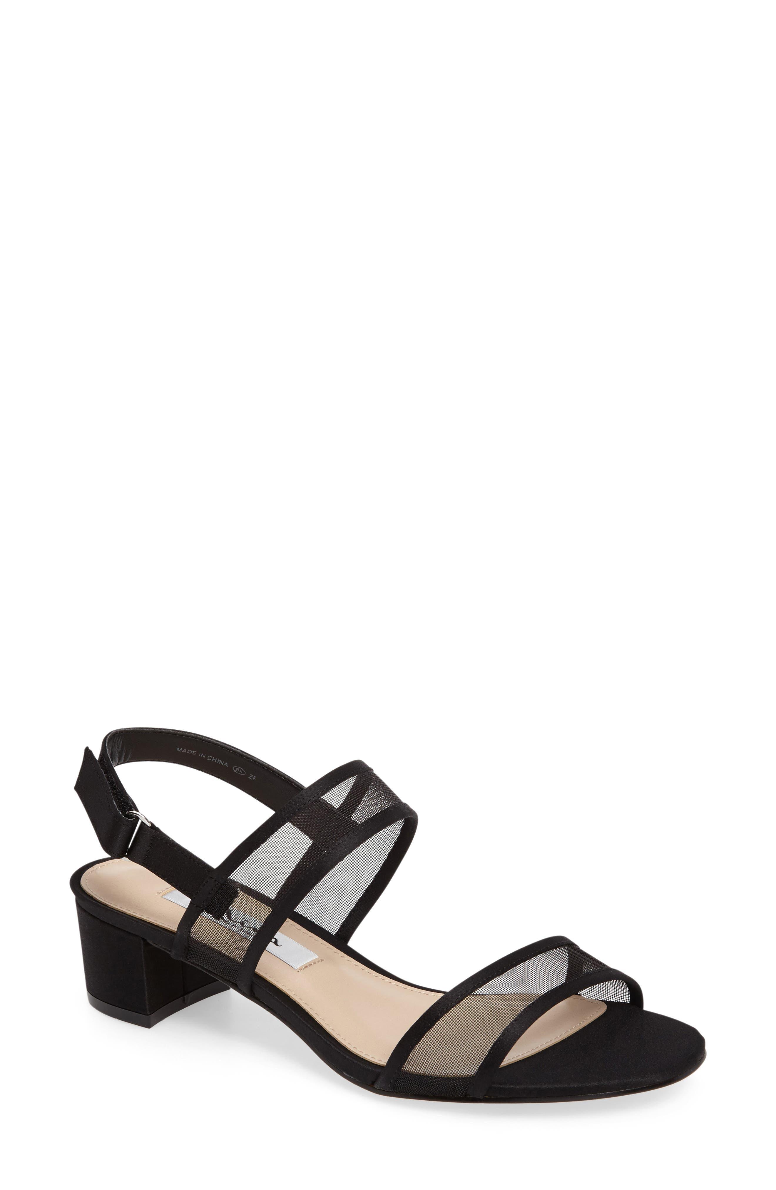 NINA, Ganice Mesh Strap Sandal, Main thumbnail 1, color, BLACK SATIN