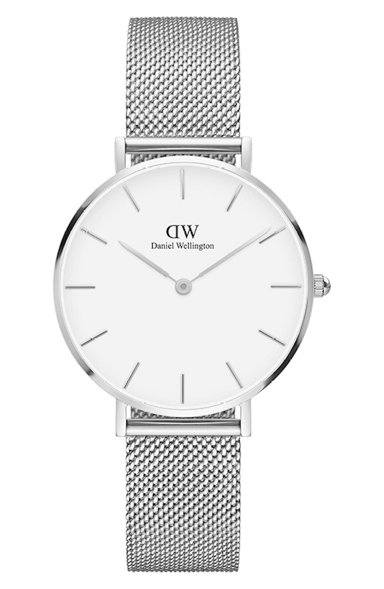 DANIEL WELLINGTON Classic Petite Mesh Strap Watch, 32mm, Main, color, SILVER/ WHITE/ SILVER