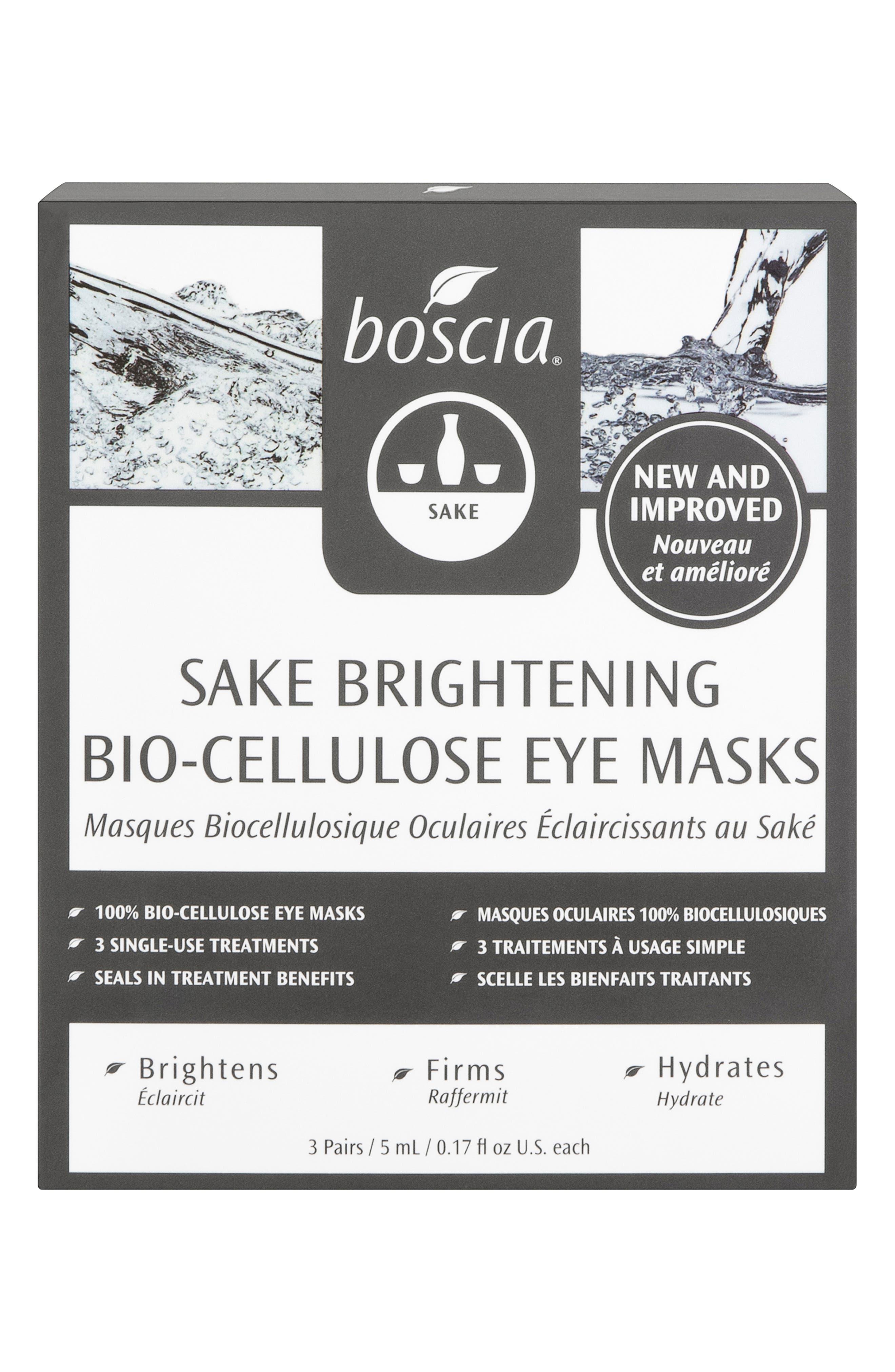 BOSCIA, Sake Brightening Bio-Cellulose Eye Mask, Main thumbnail 1, color, NO COLOR