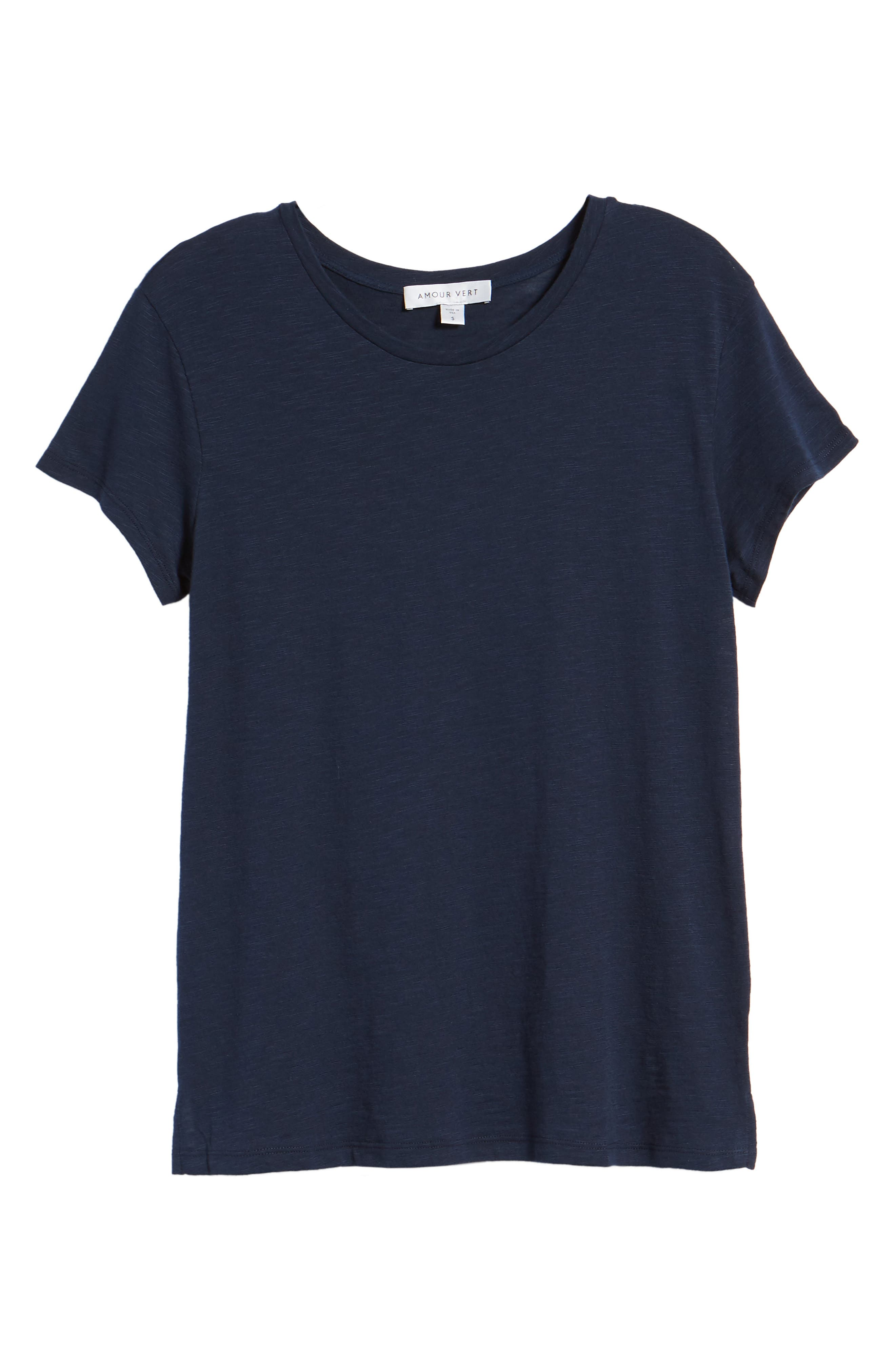 AMOUR VERT, Leif Slub Tee, Alternate thumbnail 6, color, DARK NAVY