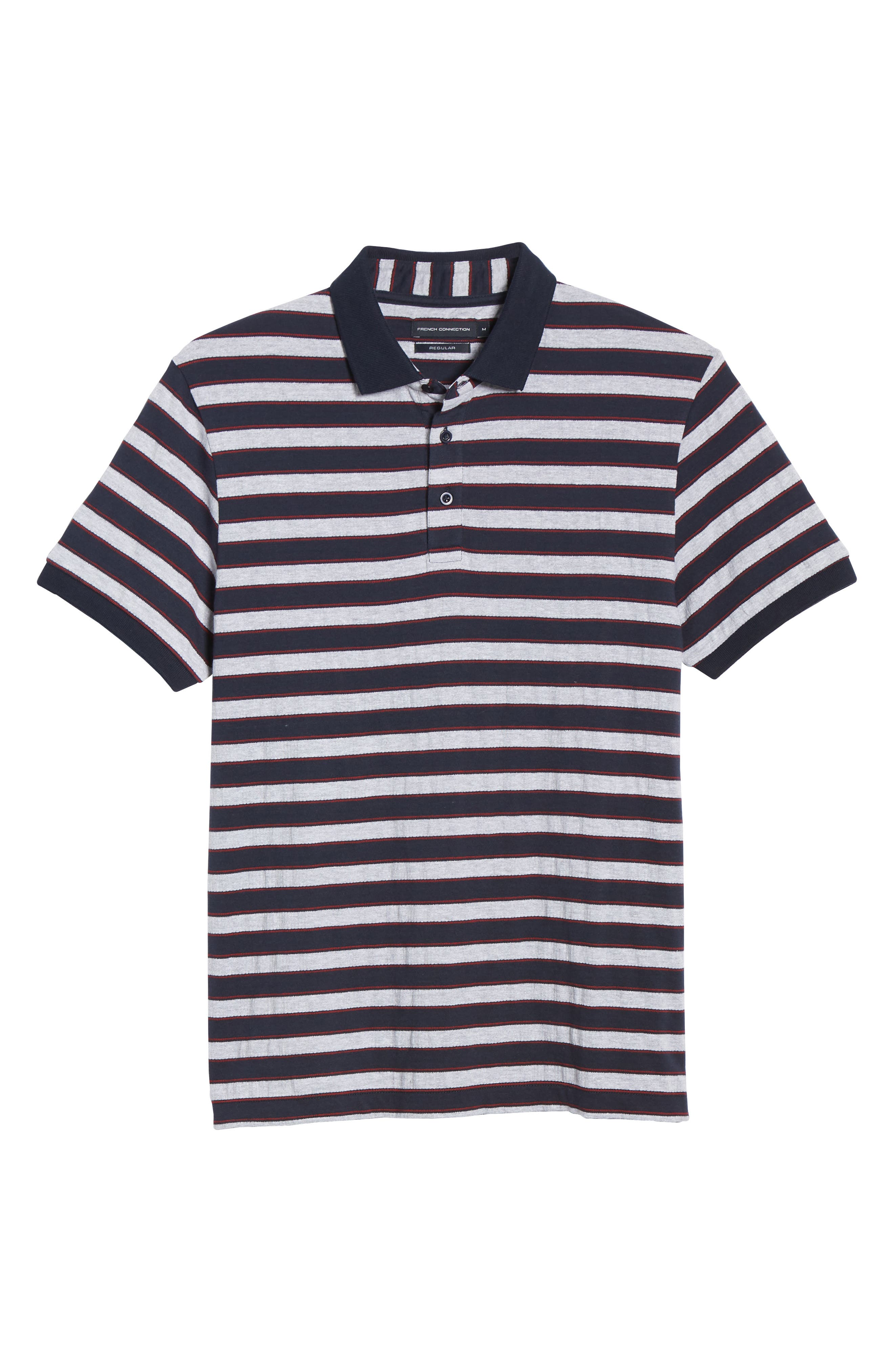 FRENCH CONNECTION, Stripe Regular Fit Mélange Polo, Alternate thumbnail 6, color, UTILITY BLUE