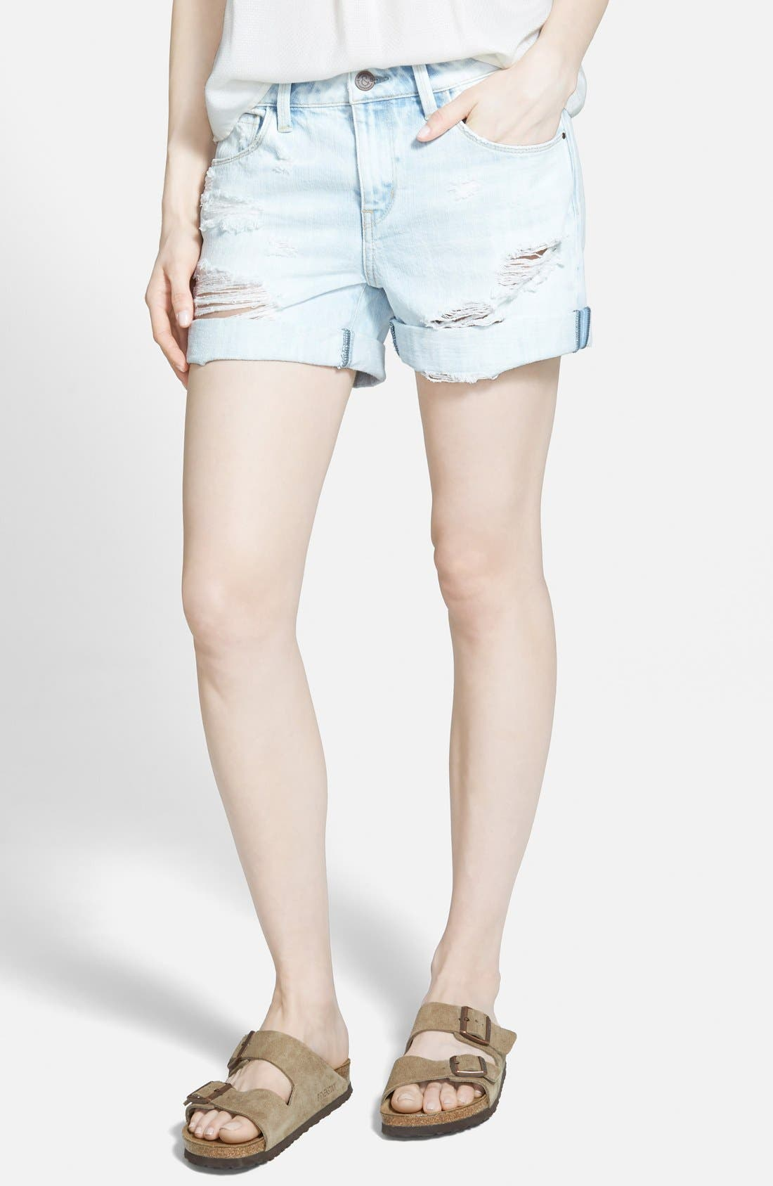 TREASURE & BOND, Treasure&Bond Roll-Up Denim Boyfriend Shorts, Main thumbnail 1, color, 400