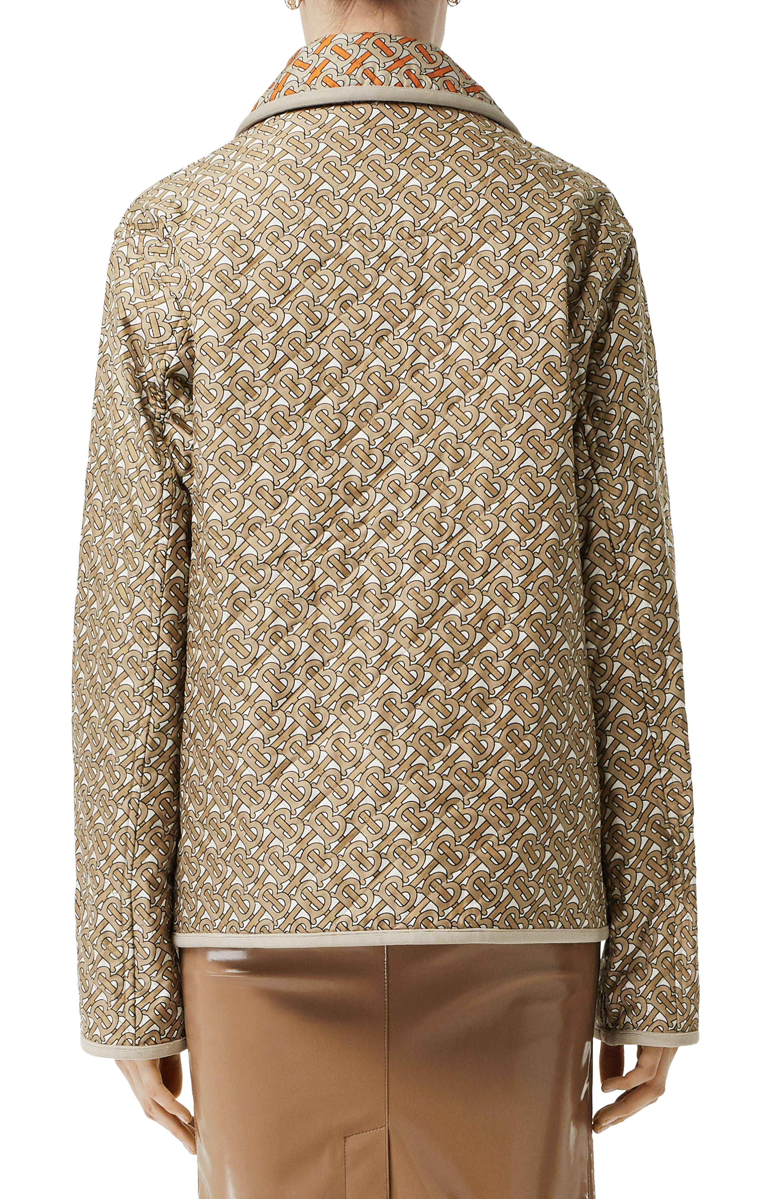 BURBERRY, Monogram Logo Print Quilted Silk Jacket, Alternate thumbnail 2, color, ARCHIVE BEIGE