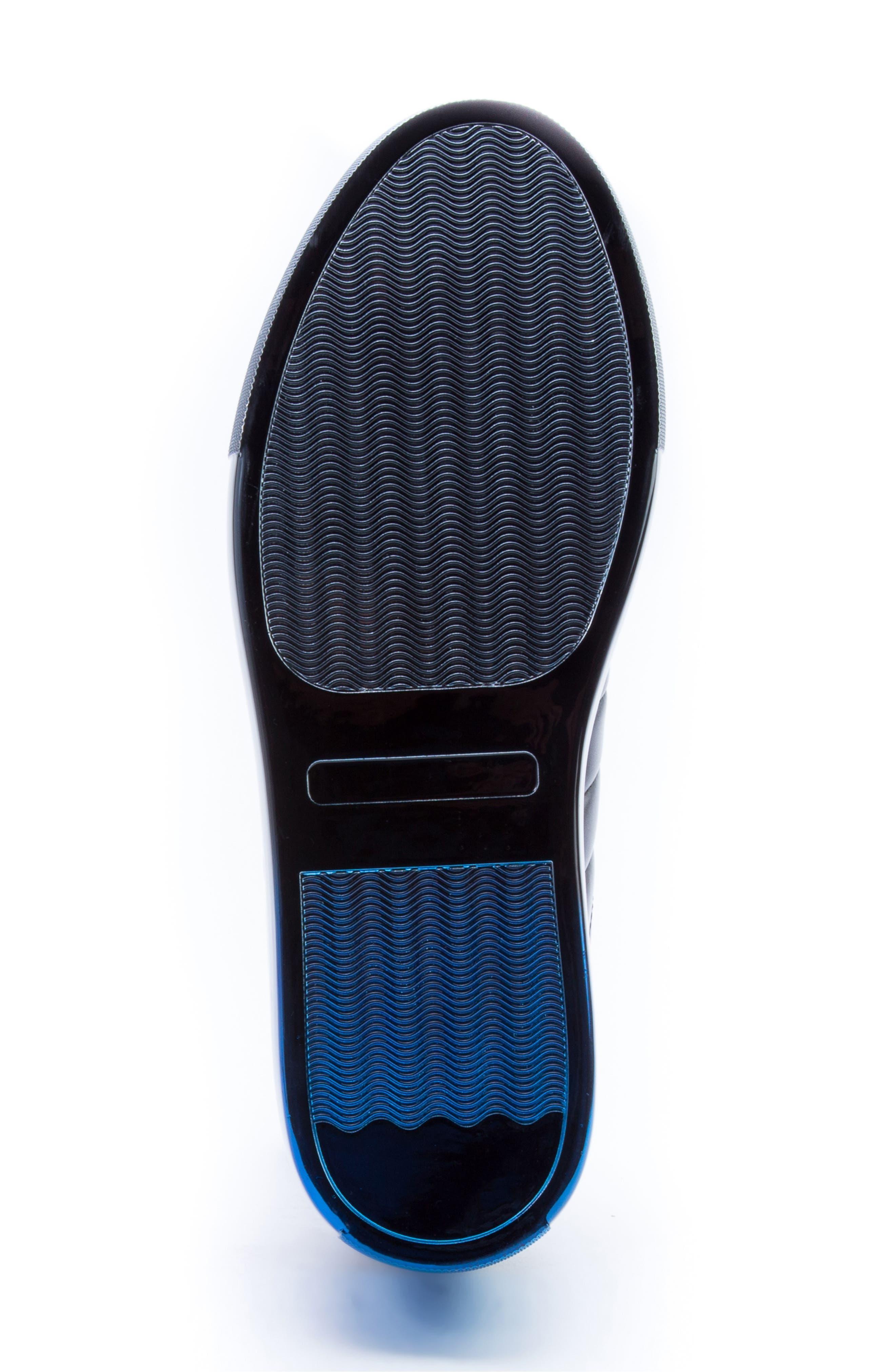 BADGLEY MISCHKA COLLECTION, Badgley Mischka Brando Sneaker, Alternate thumbnail 6, color, BLACK LEATHER