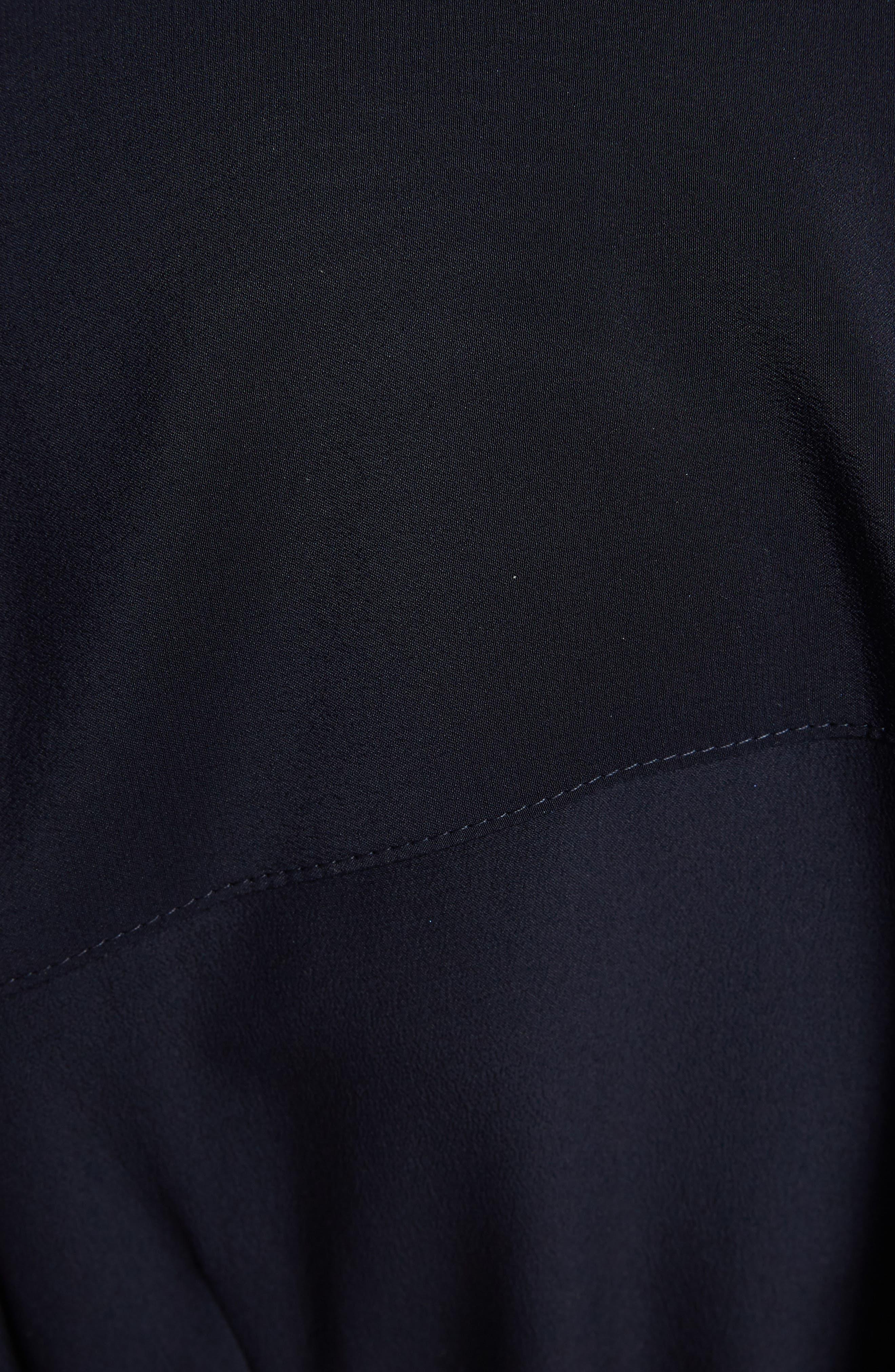 VICTORIA BECKHAM, Belted Silk Shirtdress, Alternate thumbnail 5, color, NAVY/ RED