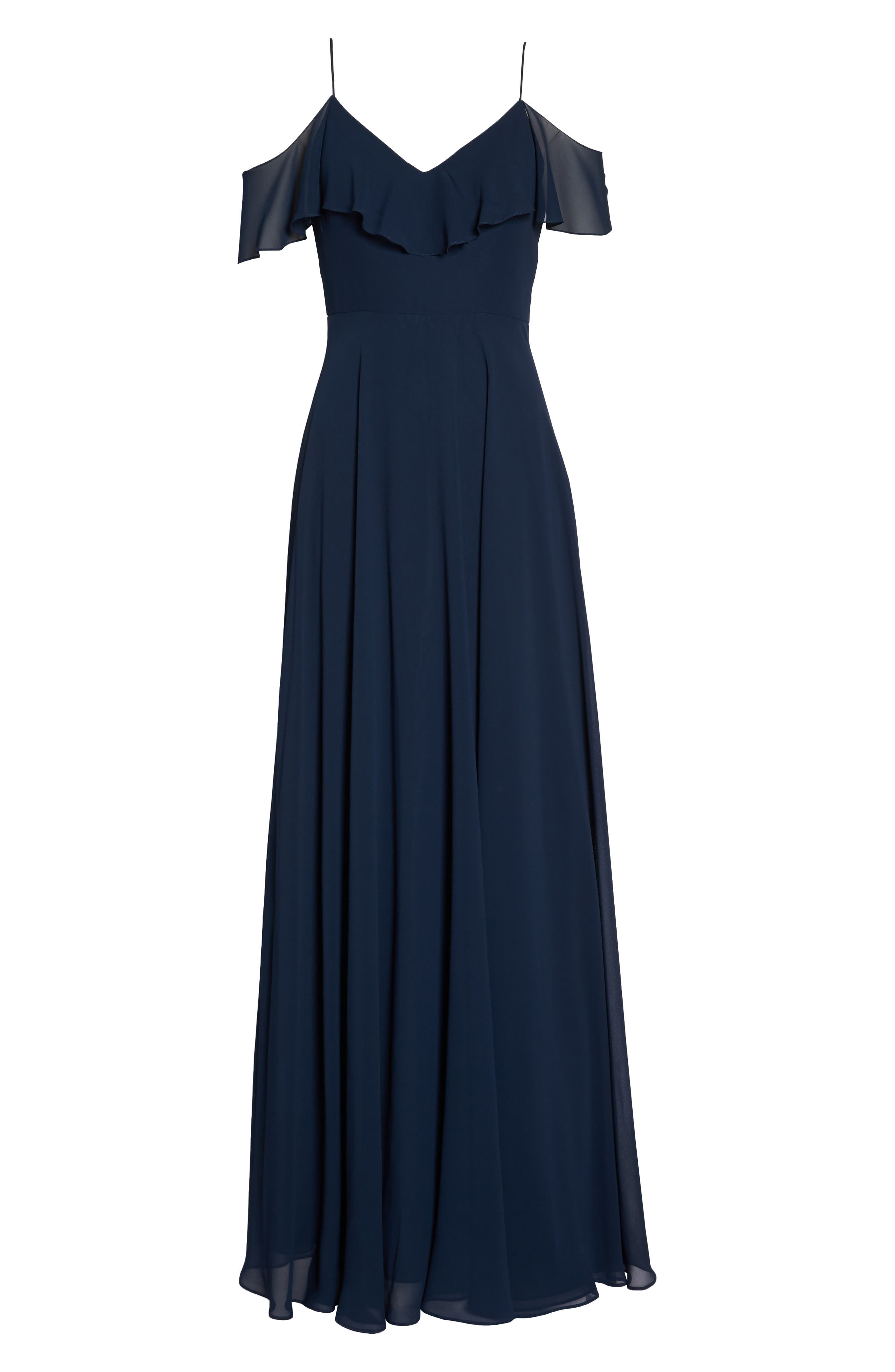 JENNY YOO, Cold Shoulder Chiffon Gown, Alternate thumbnail 8, color, NAVY