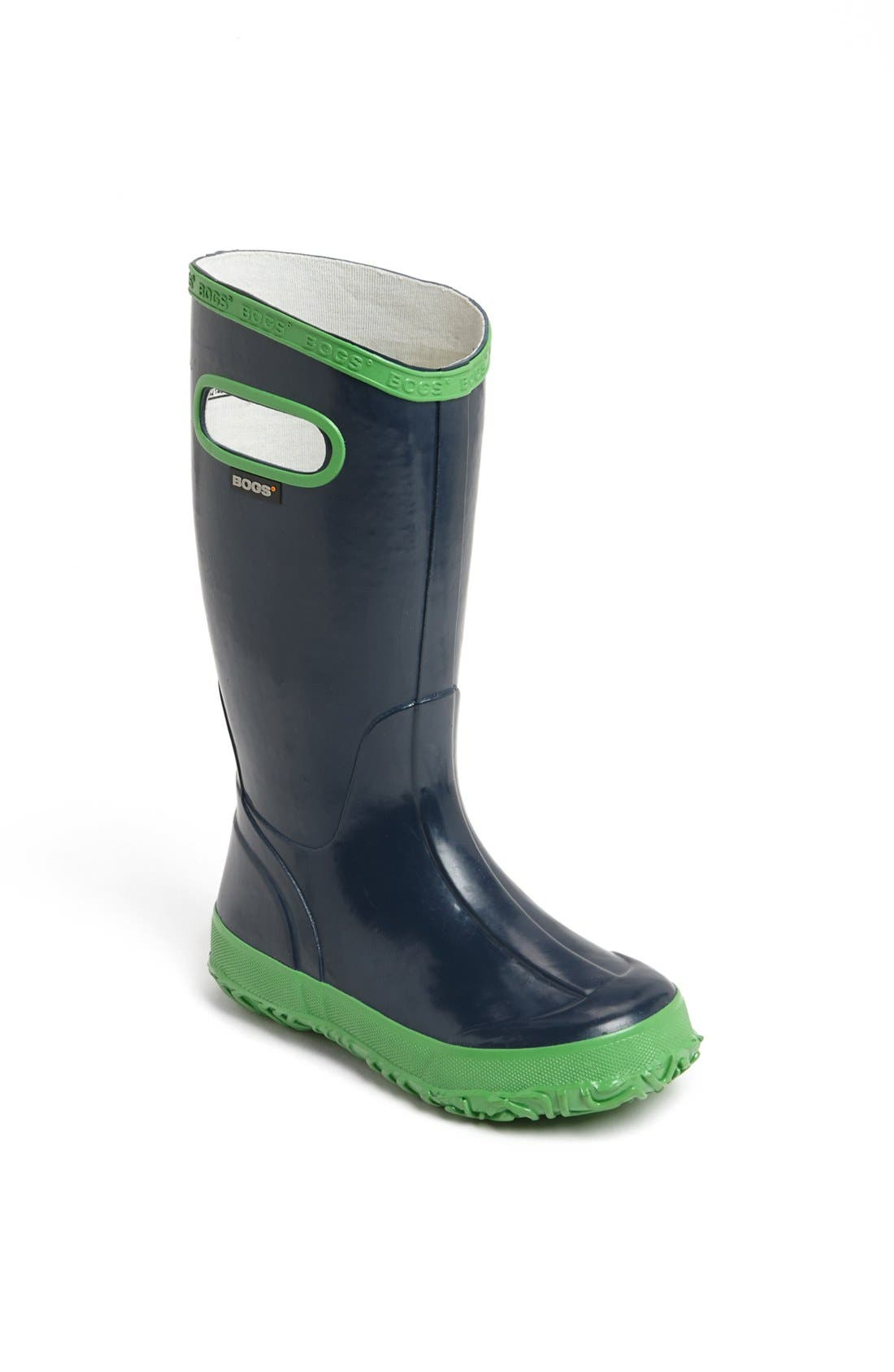 BOGS Rubber Rain Boot, Main, color, NAVY/ GREEN