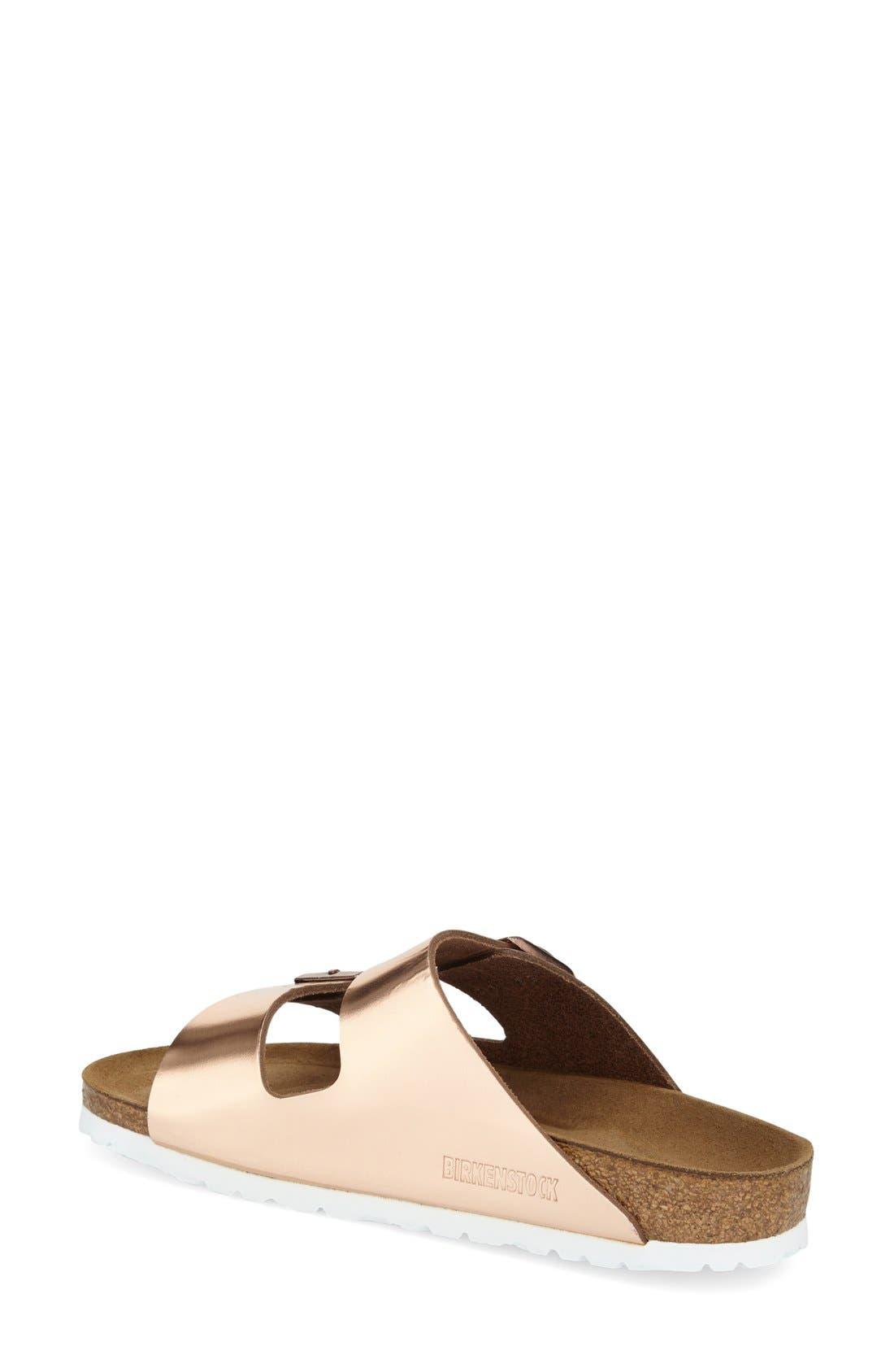 BIRKENSTOCK, 'Arizona' Soft Footbed Sandal, Alternate thumbnail 7, color, COPPER LEATHER
