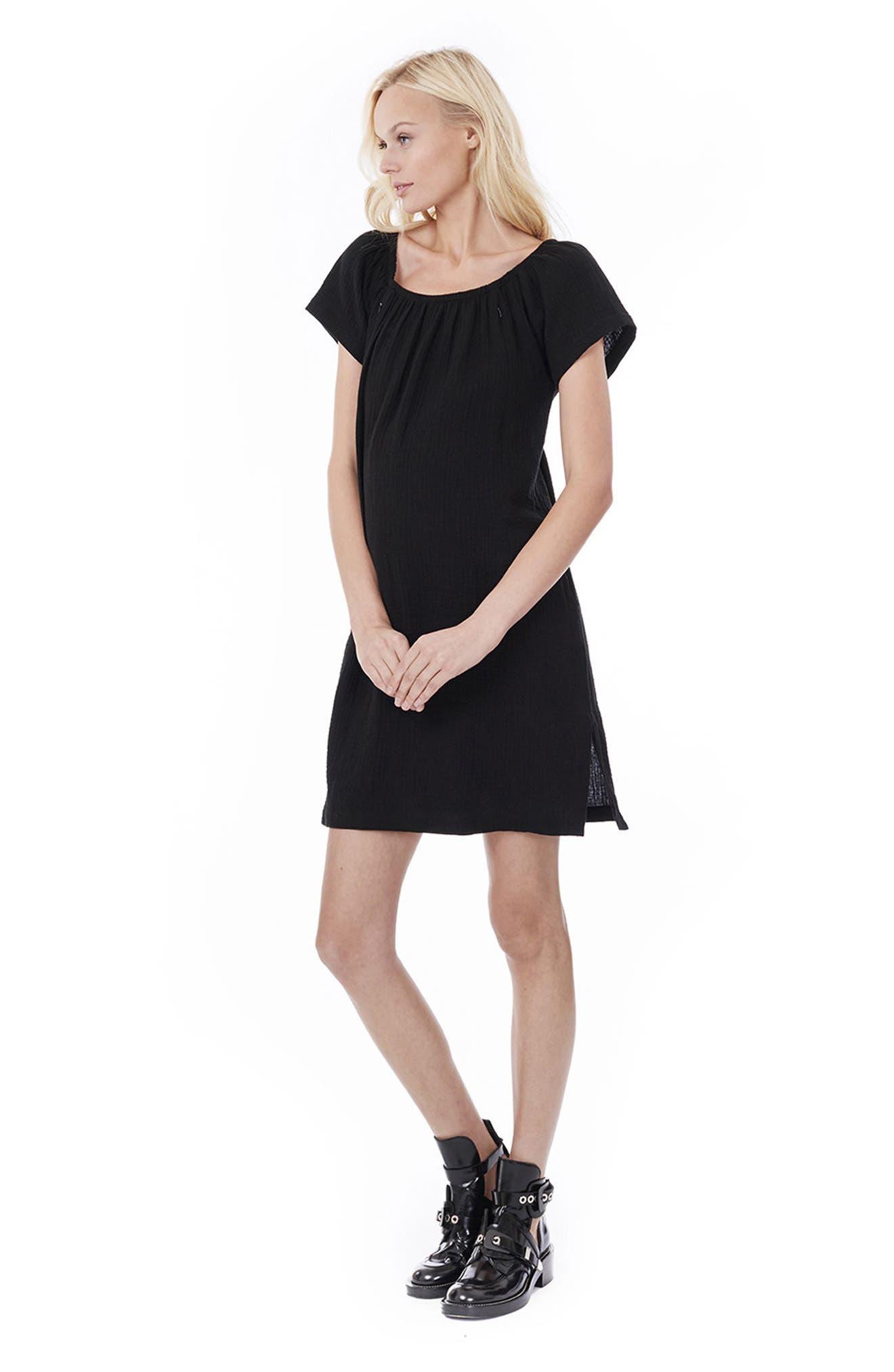 LOYAL HANA, Ariel Off The Shoulder Maternity/Nursing Dress, Alternate thumbnail 5, color, BLACK