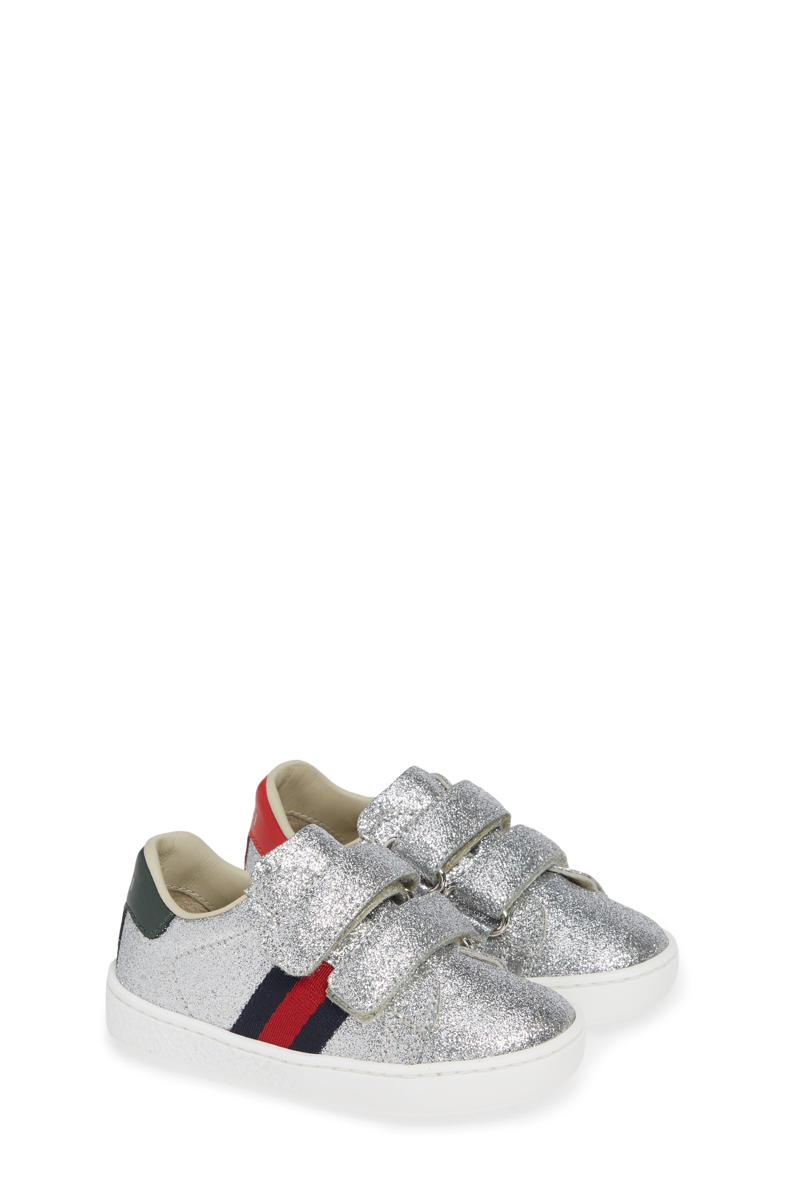 GUCCI, New Ace Sneaker, Alternate thumbnail 2, color, METALLIC SILVER