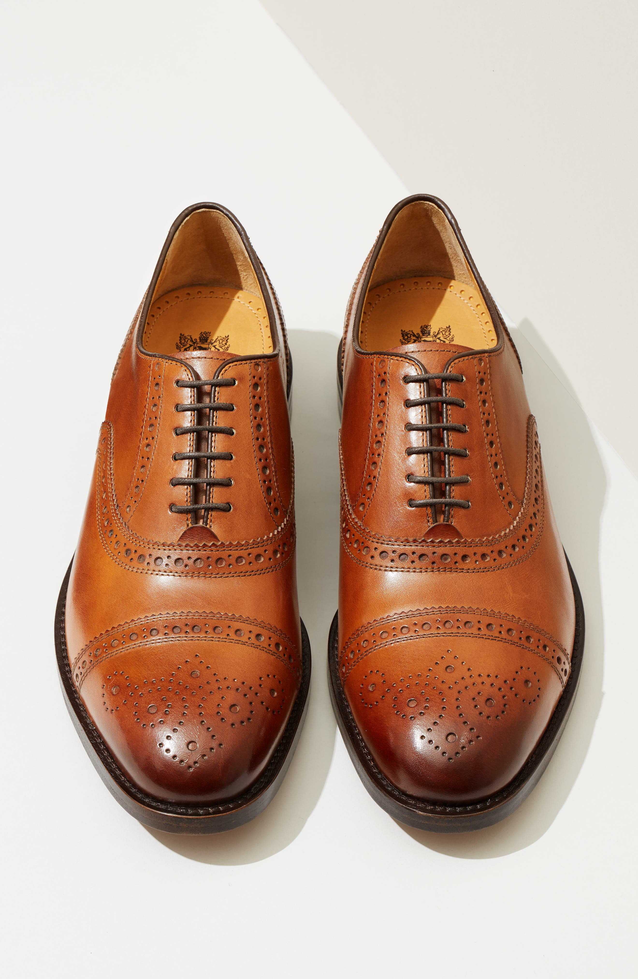 COLE HAAN, American Classics Kneeland Cap Toe Oxford, Alternate thumbnail 8, color, BRITISH TAN LEATHER