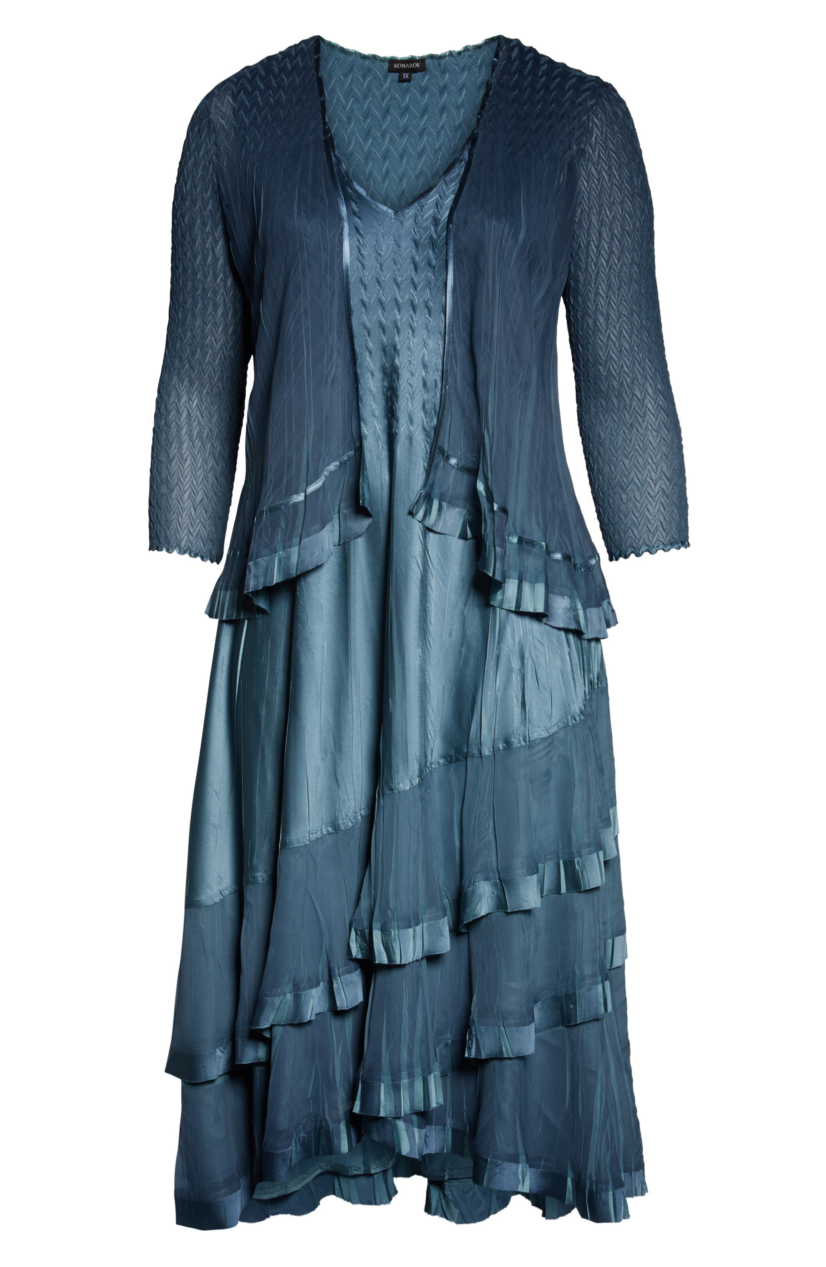 KOMAROV, Charmeuse Cocktail Dress with Jacket, Alternate thumbnail 7, color, SILVER BLUE OMBRE