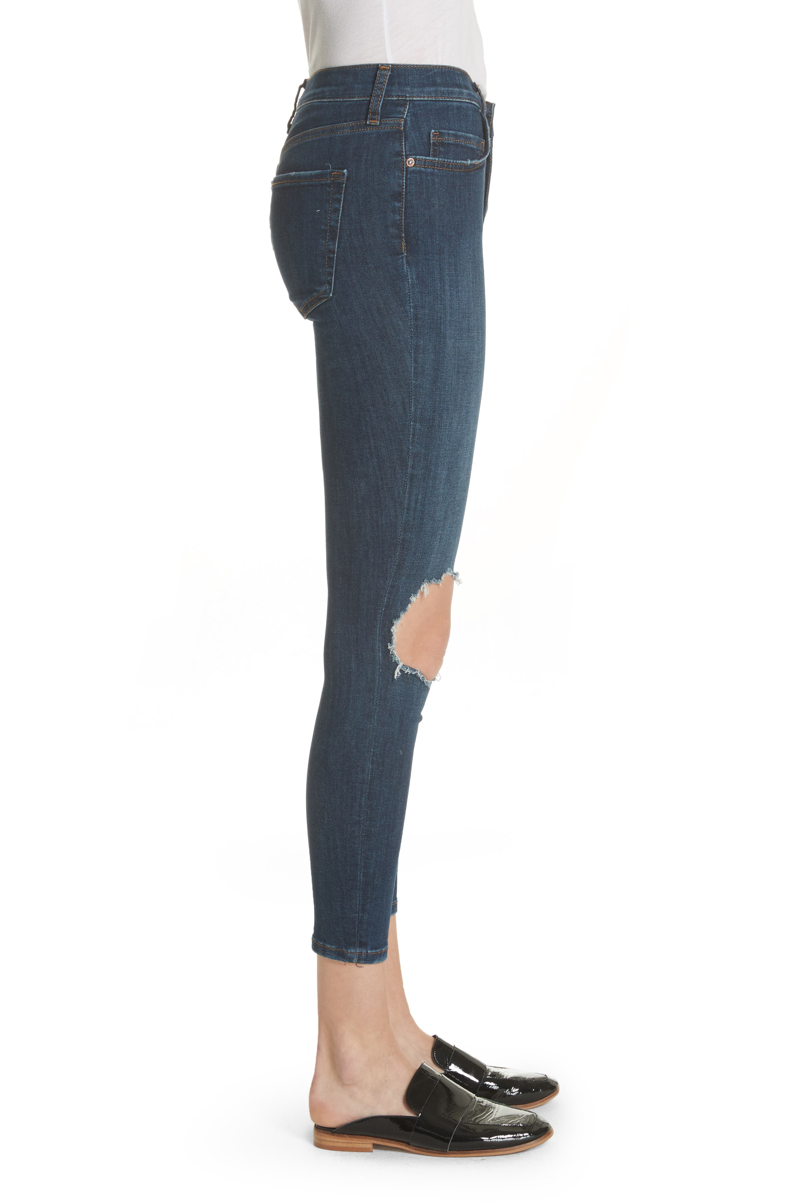 FREE PEOPLE, We the Free by Free People High Waist Ankle Skinny Jeans, Alternate thumbnail 4, color, DARK BLUE