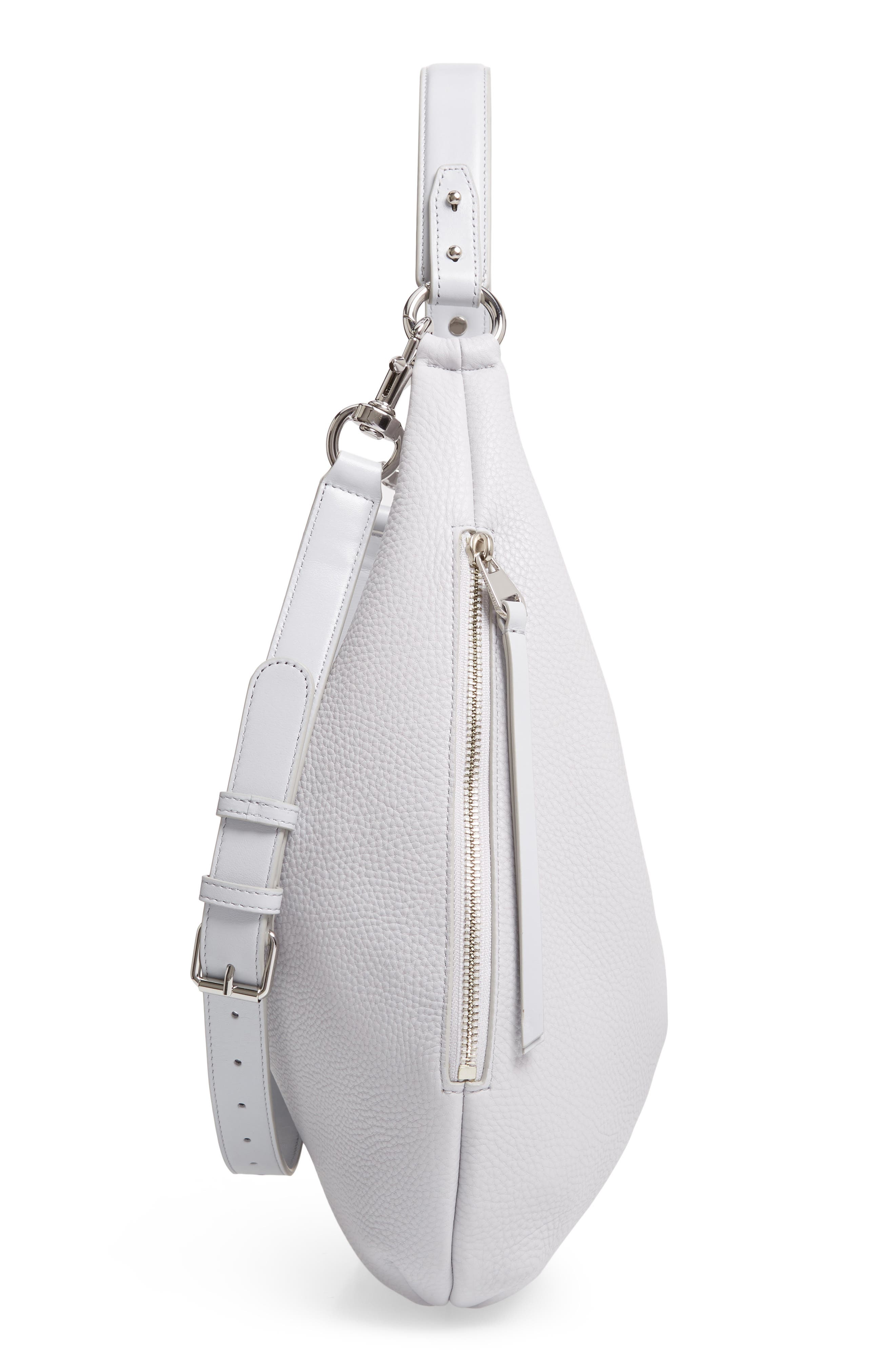 REBECCA MINKOFF, Michelle Leather Hobo, Alternate thumbnail 6, color, ICE GREY