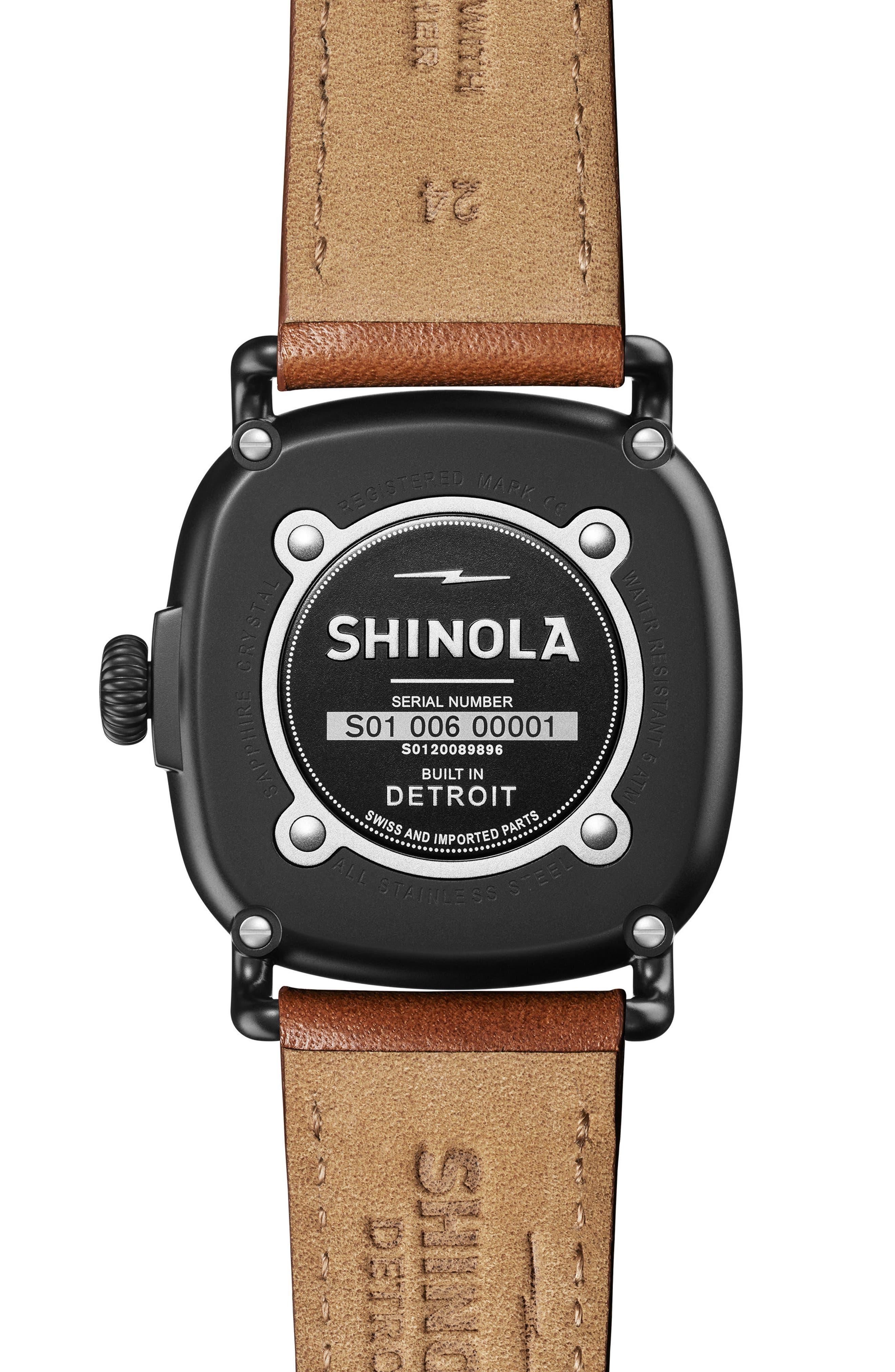 SHINOLA, Guardian Leather Strap Watch, 41mm, Alternate thumbnail 2, color, TAN/ BLACK