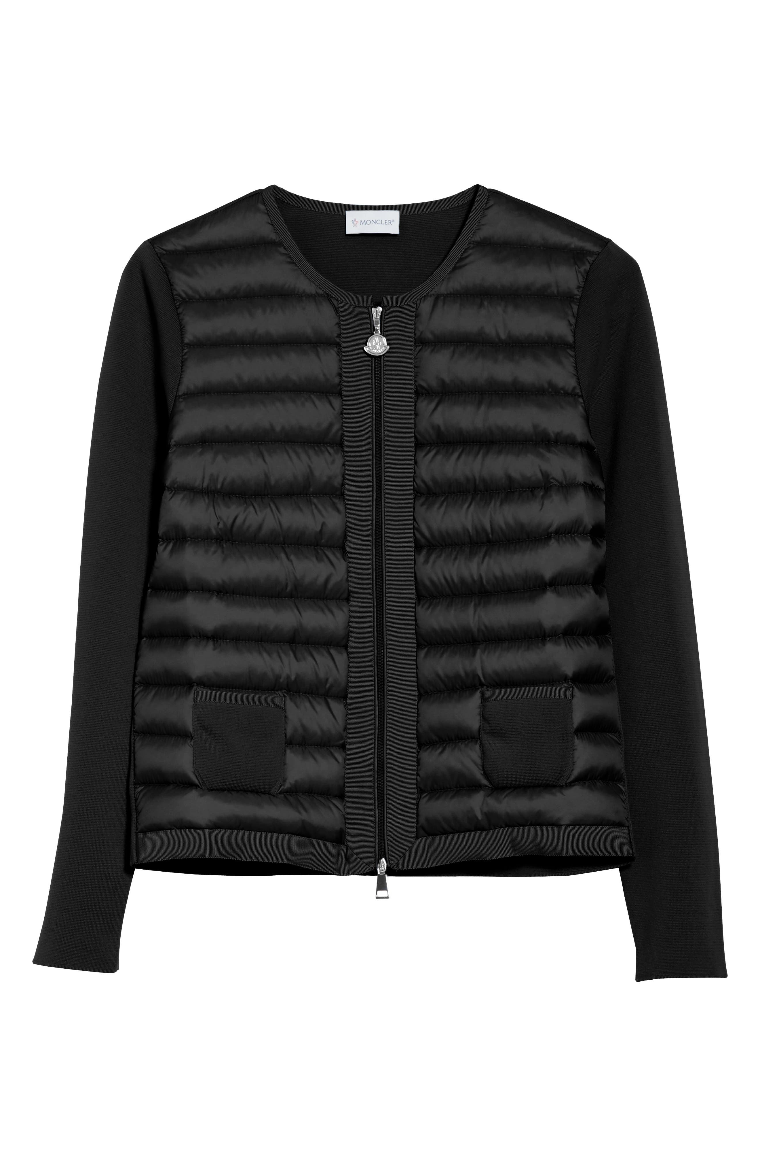 MONCLER, Maglia Quilted Down Front Tricot Cardigan, Alternate thumbnail 5, color, 001