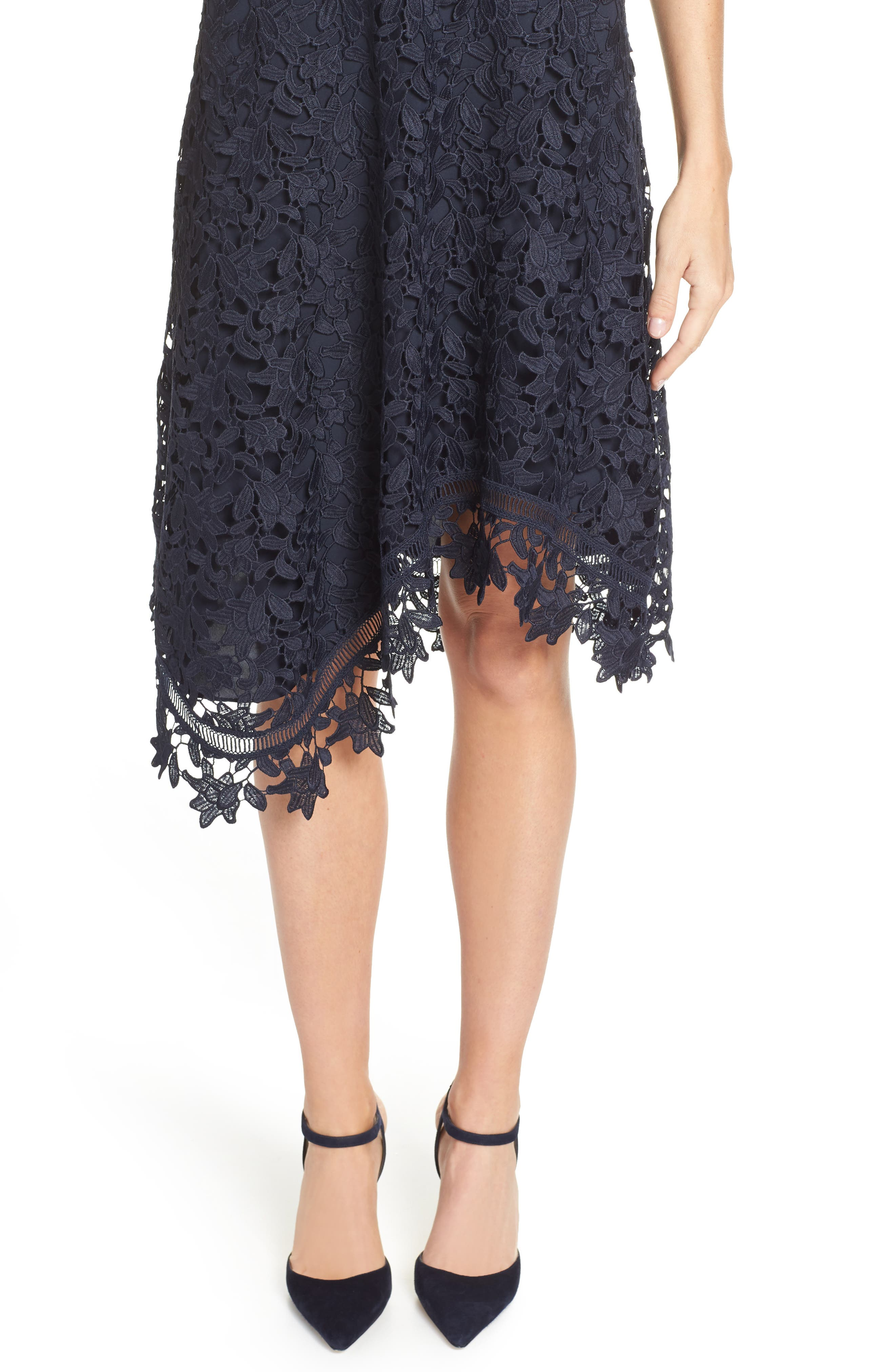 ELIZA J, Asymmetrical Lace Dress, Alternate thumbnail 5, color, NAVY