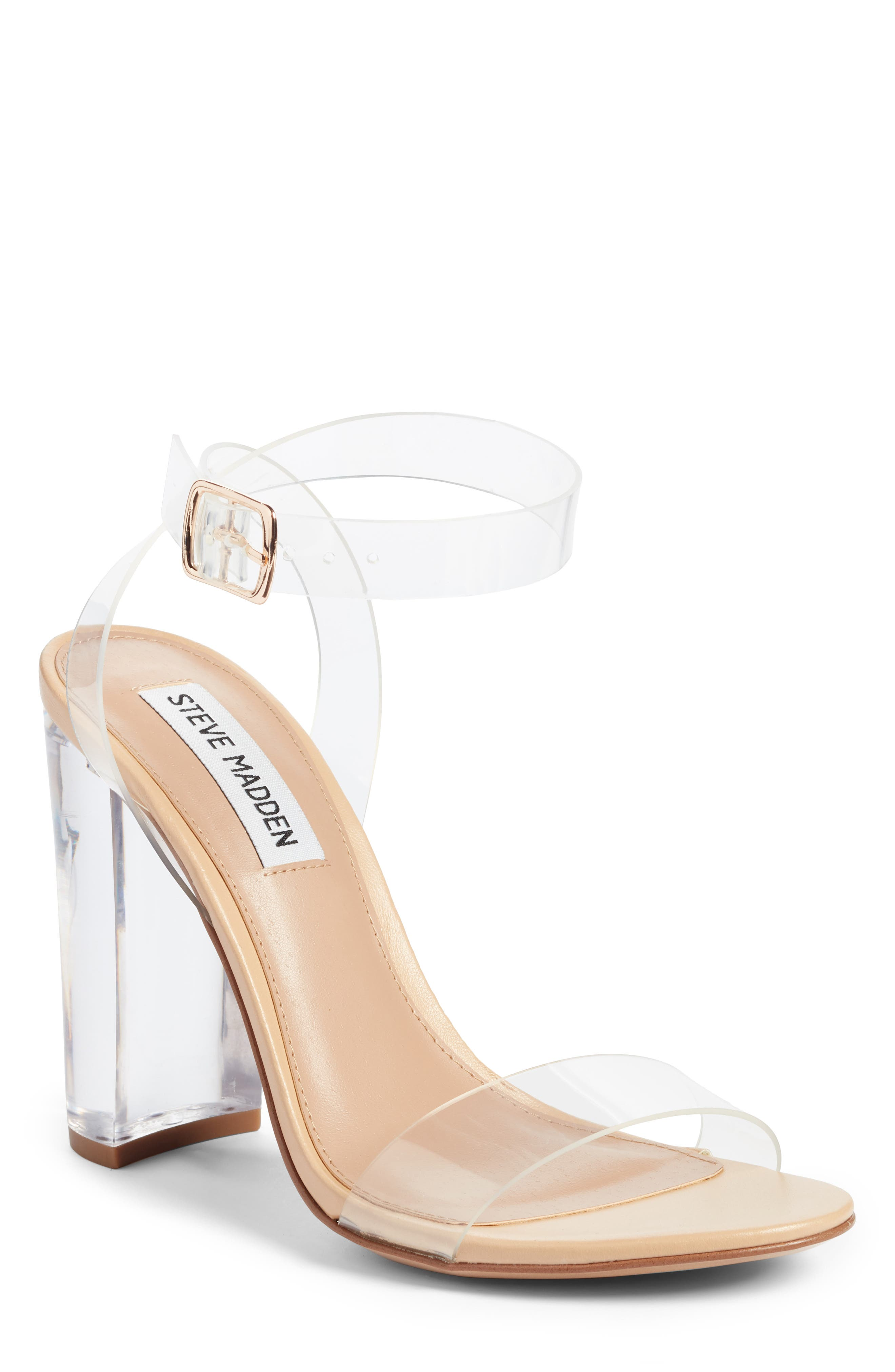 STEVE MADDEN Camille Clear Sandal, Main, color, CLEAR