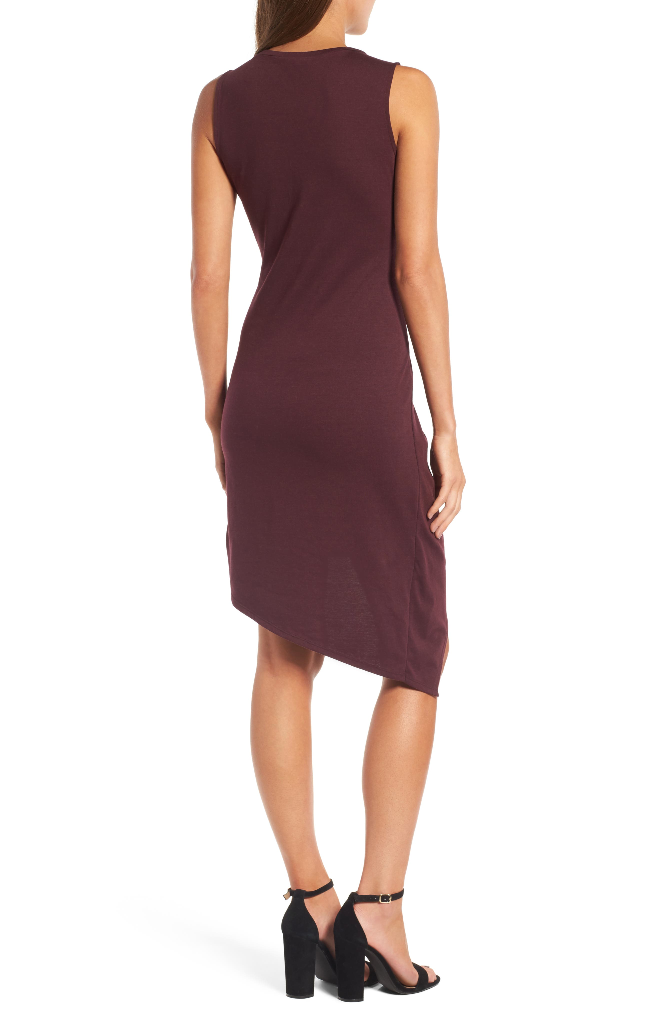 CHELSEA28, Twist Front Dress, Alternate thumbnail 2, color, BURGUNDY STEM