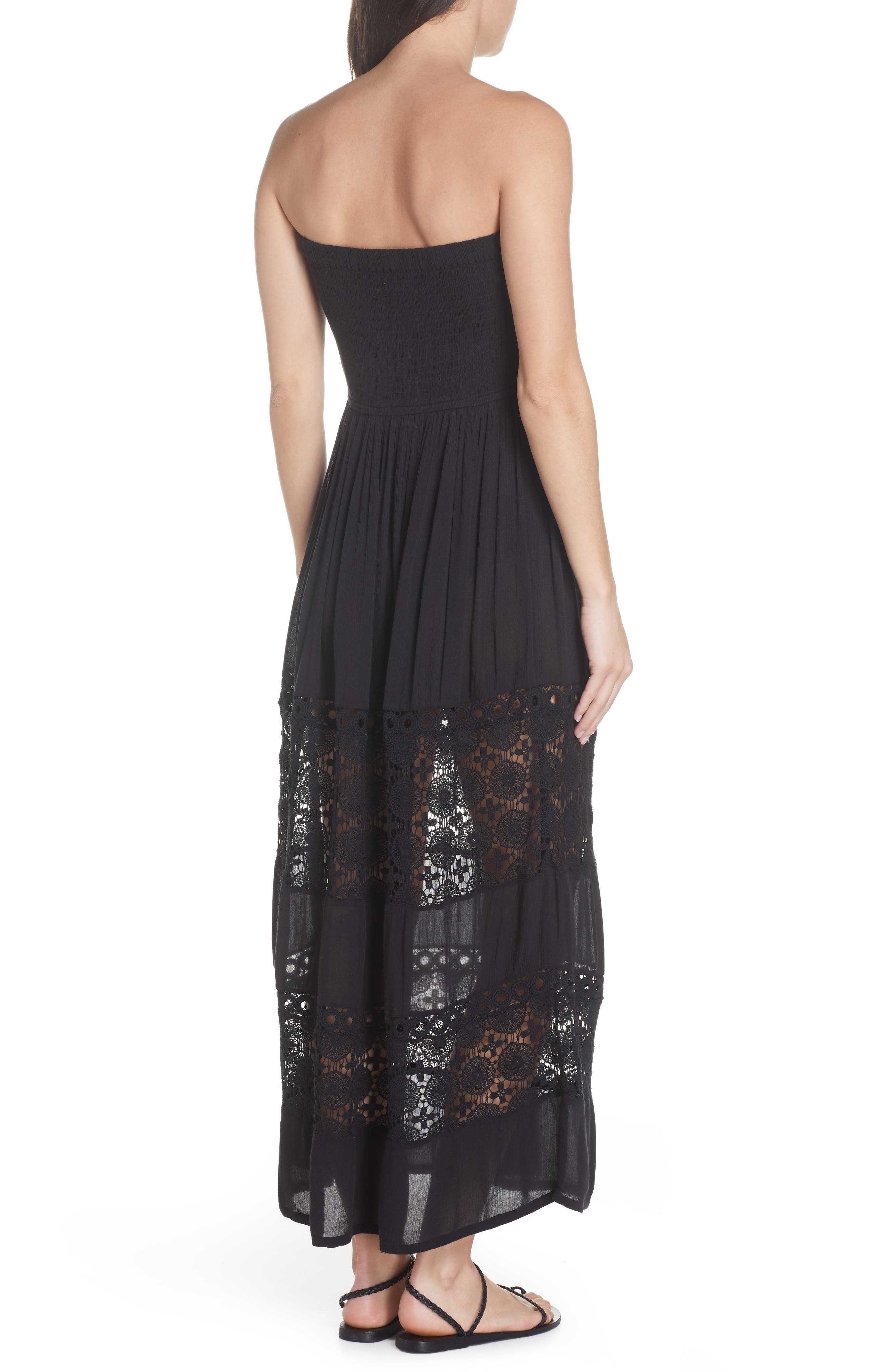 CHELSEA28, Farrah Smocked Cover-Up Maxi Dress, Alternate thumbnail 3, color, BLACK