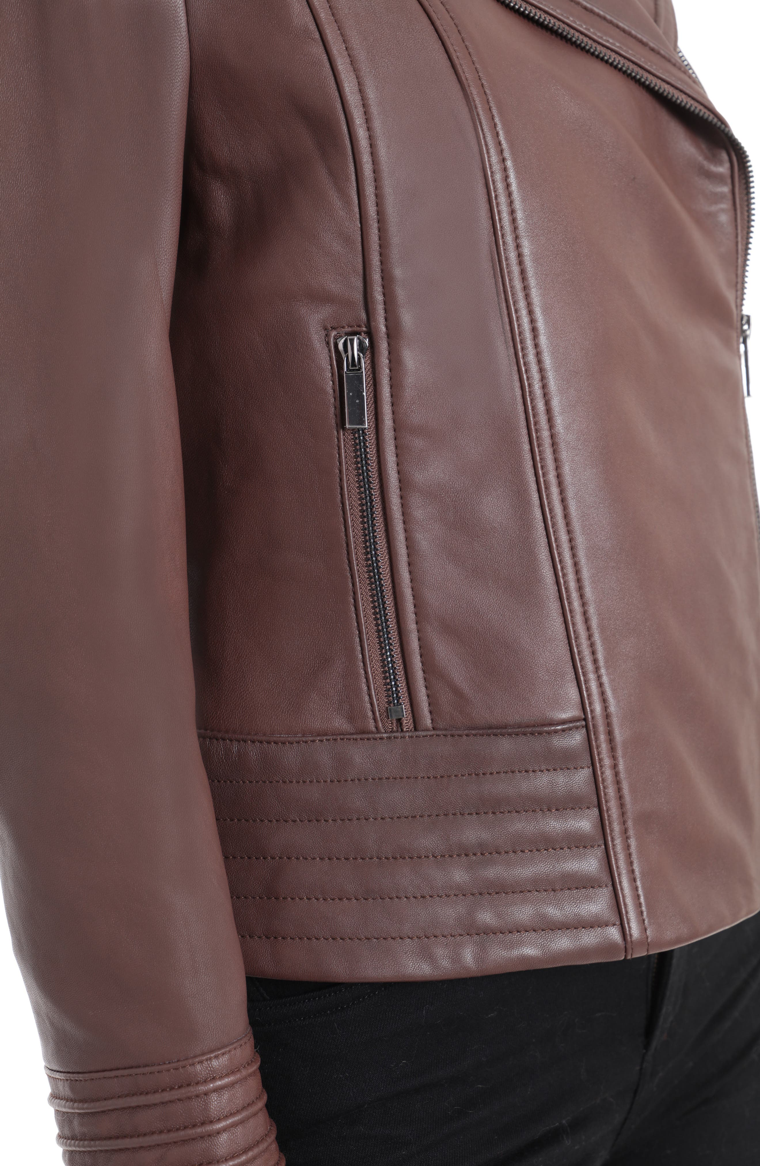 BADGLEY MISCHKA COLLECTION, Badgley Mischka Gia Leather Biker Jacket, Alternate thumbnail 5, color, 201
