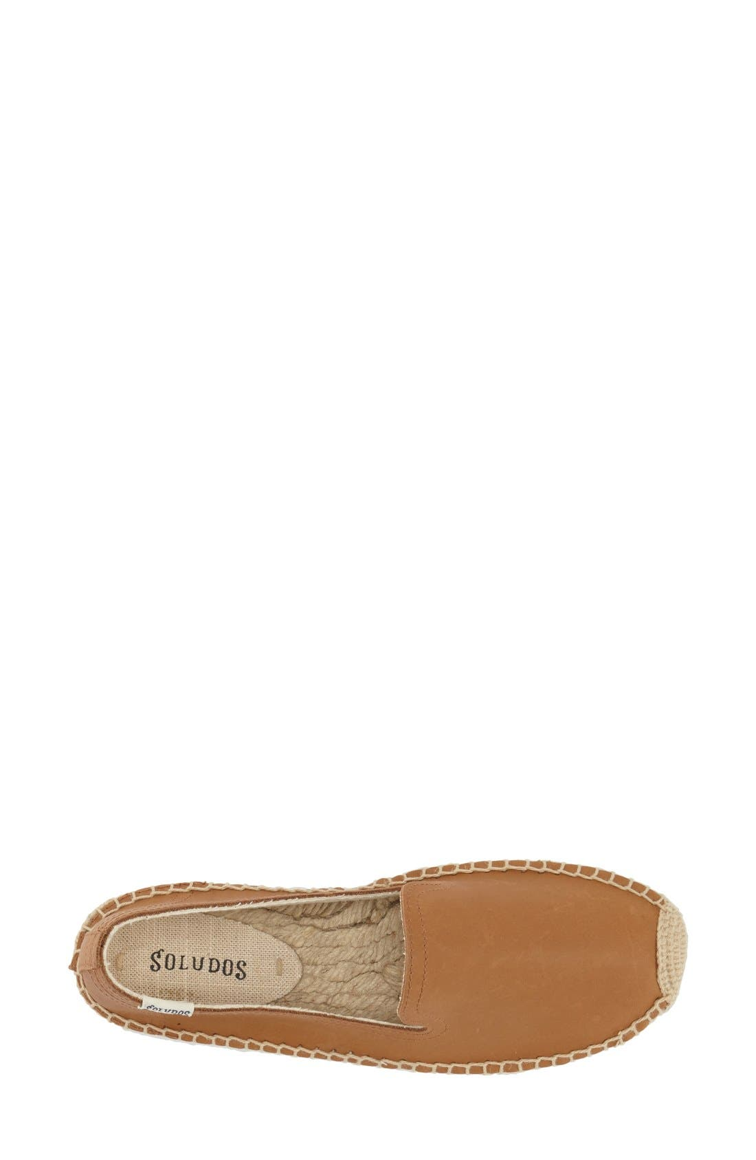 SOLUDOS, 'Smoking' Espadrille Platform Shoe, Alternate thumbnail 4, color, TAN LEATHER