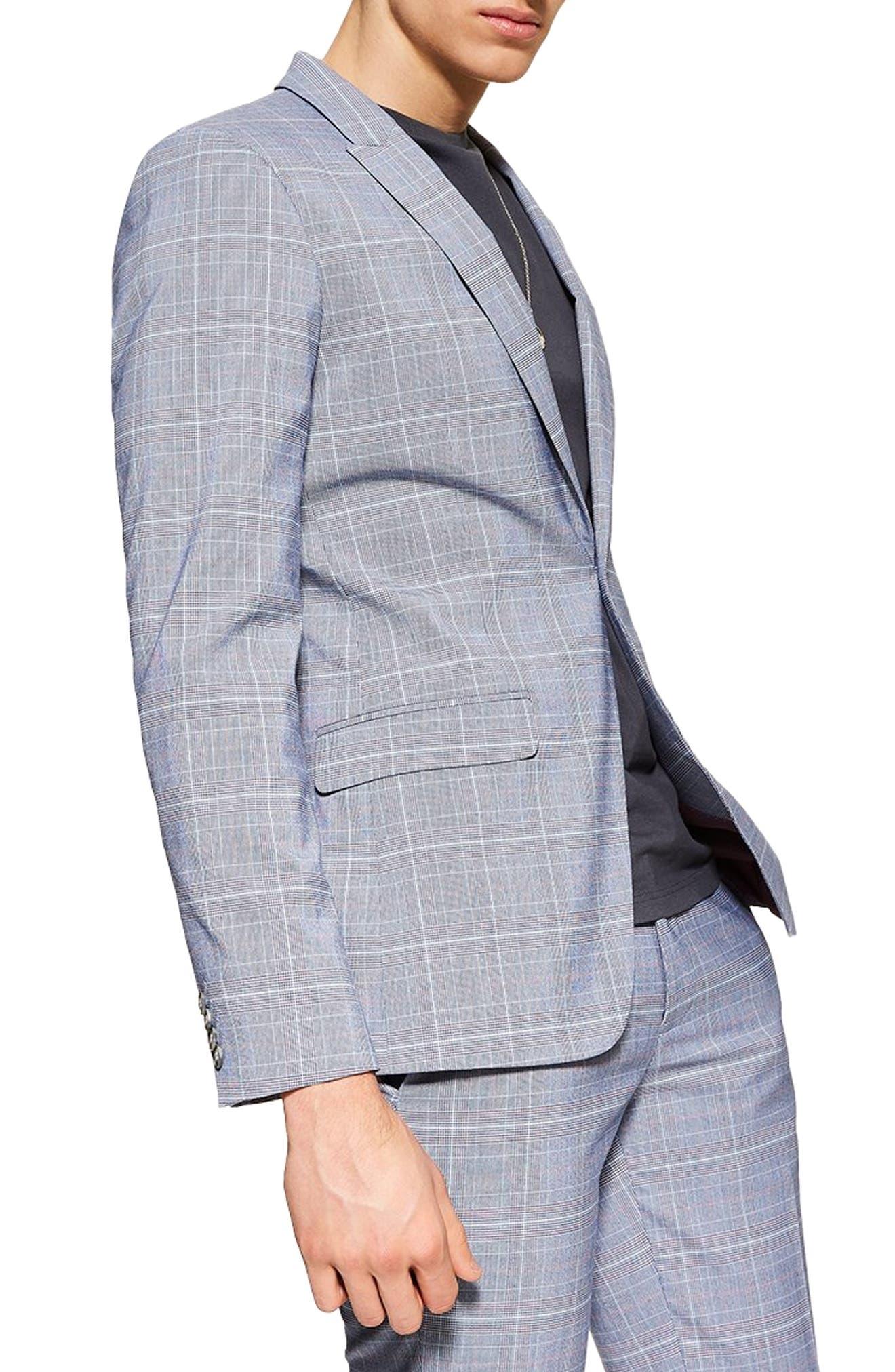 TOPMAN, Skinny Fit Suit Jacket, Main thumbnail 1, color, BLUE MULTI