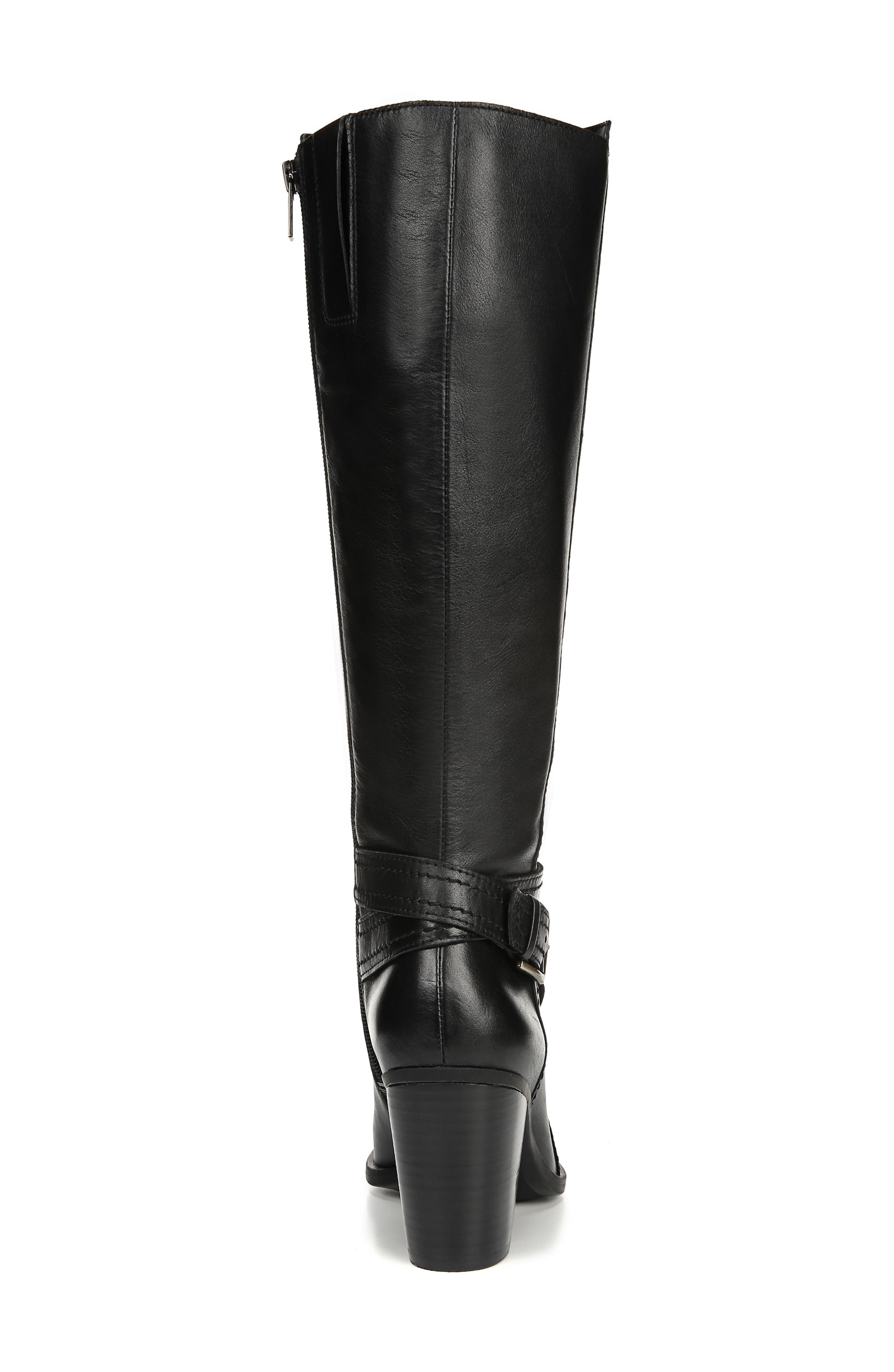 NATURALIZER, Kelsey Knee High Boot, Alternate thumbnail 7, color, BLACK LEATHER