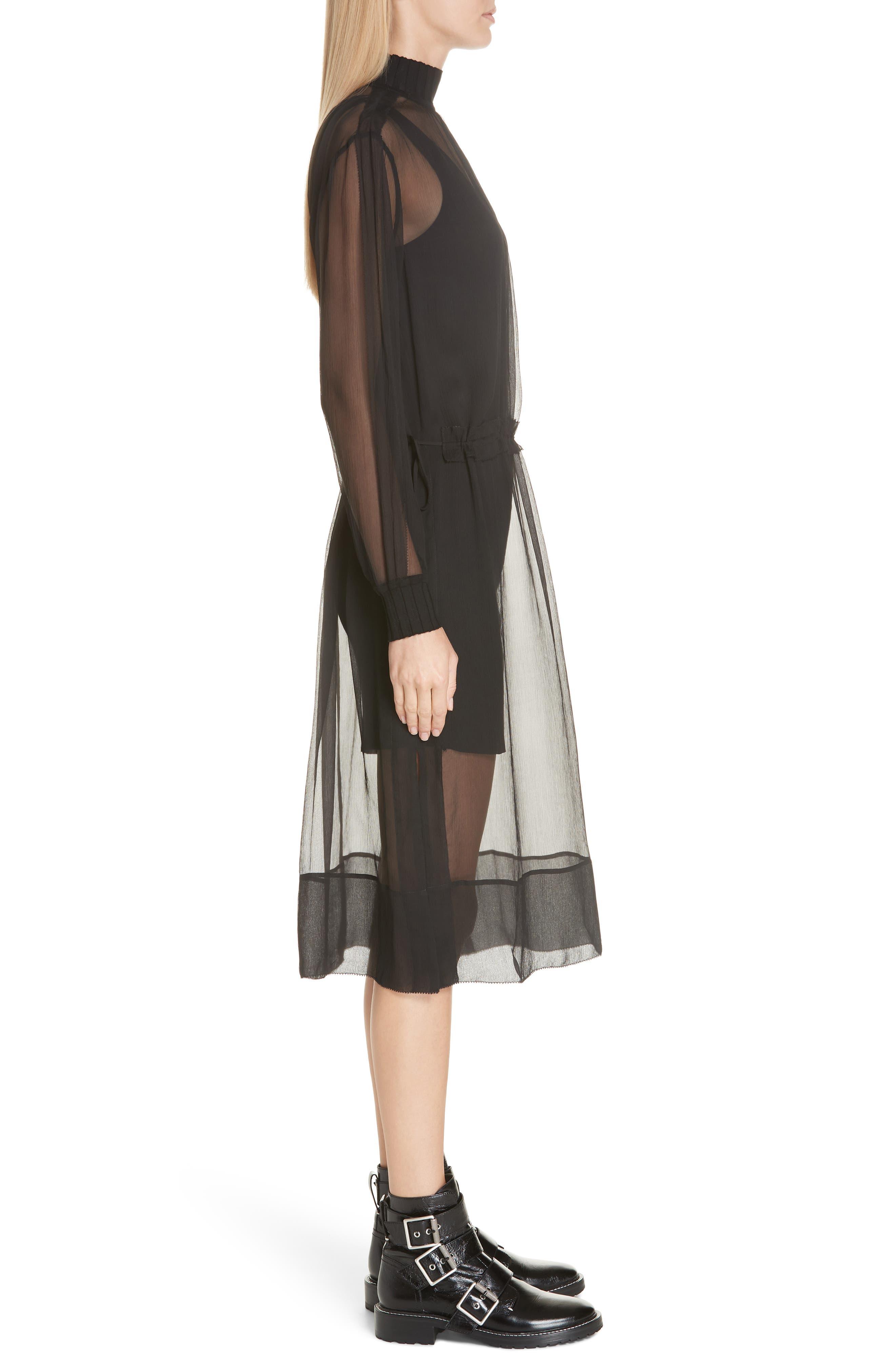 RAG & BONE, Dinah Silk Dress, Alternate thumbnail 4, color, 001