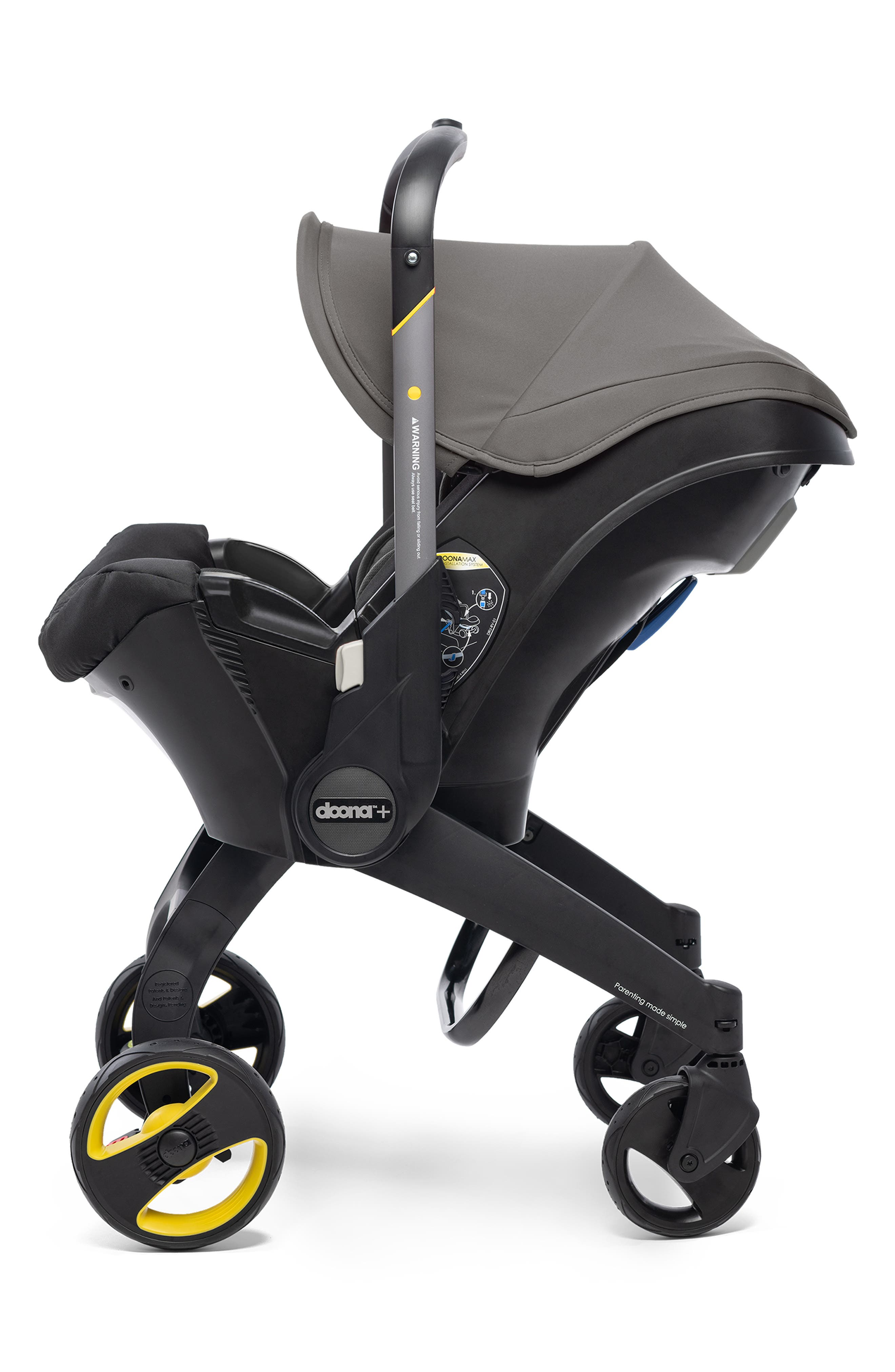 DOONA, Convertible Infant Car Seat/Compact Stroller System with Base, Alternate thumbnail 6, color, GREY HOUND