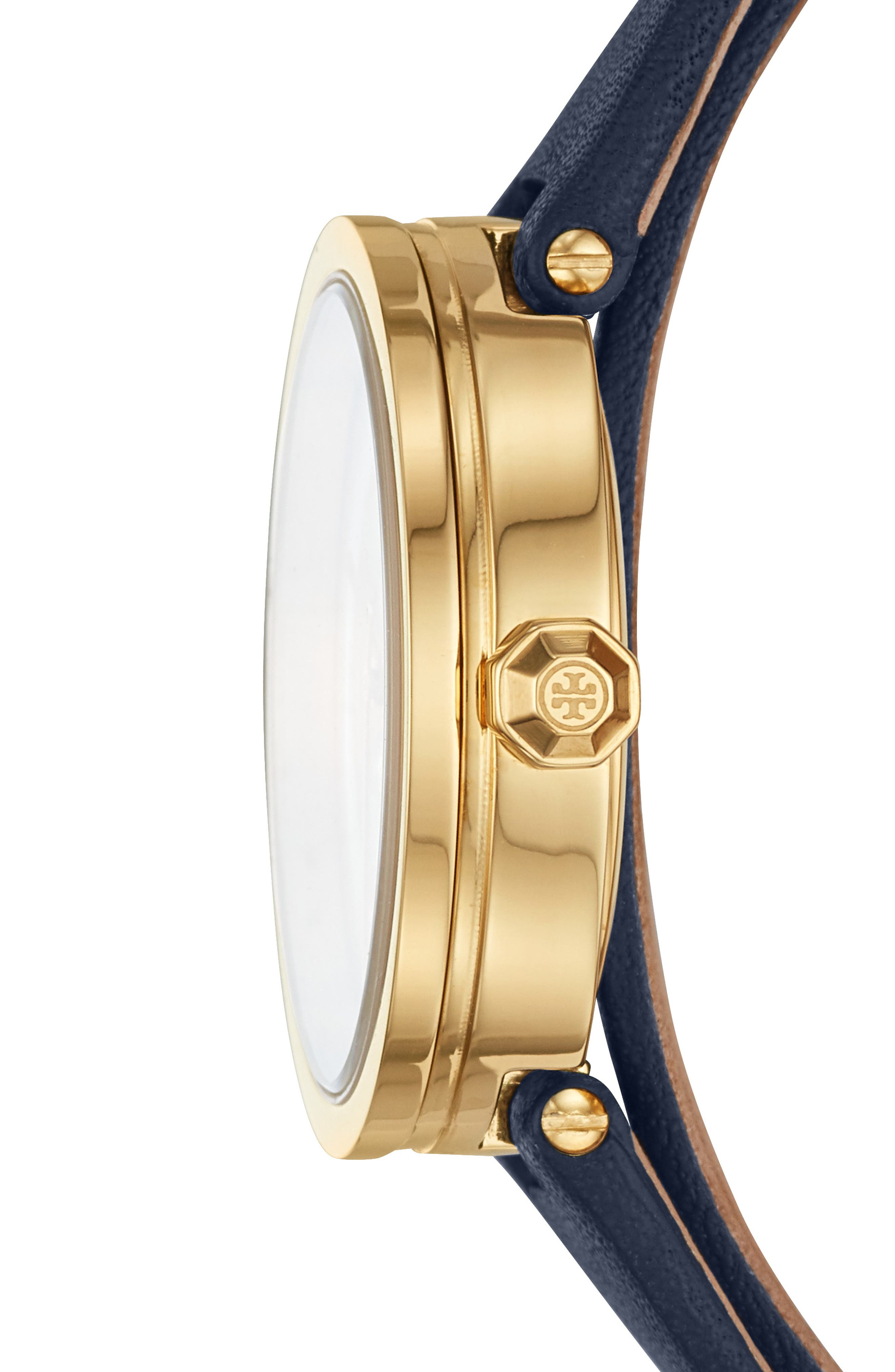 TORY BURCH, Reva Double Wrap Leather Strap Watch, 29mm, Alternate thumbnail 2, color, BLUE/ MOP/ GOLD