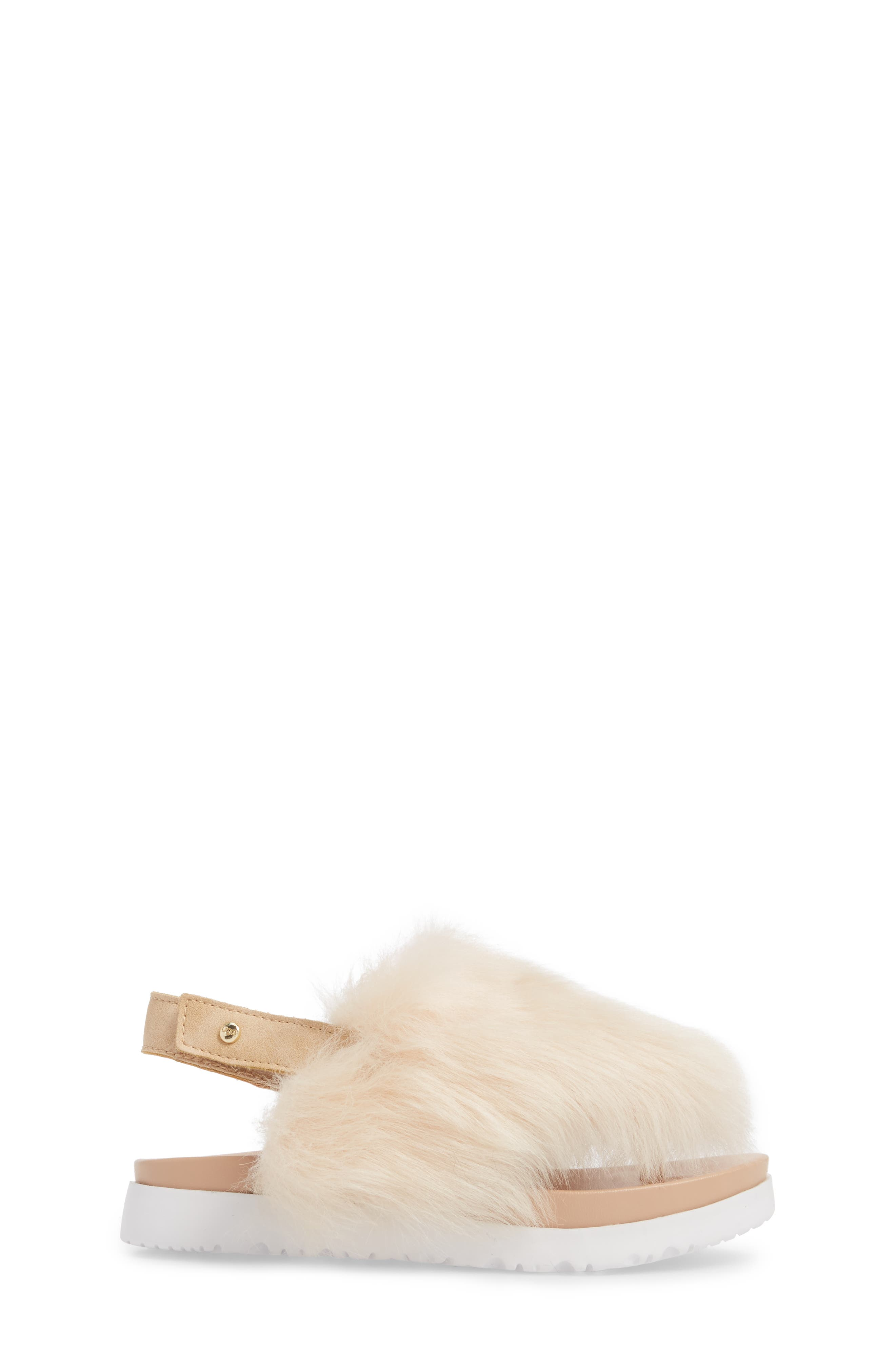 UGG<SUP>®</SUP>, Holly Genuine Shearling Sandal, Alternate thumbnail 3, color, SOFT OCHRE