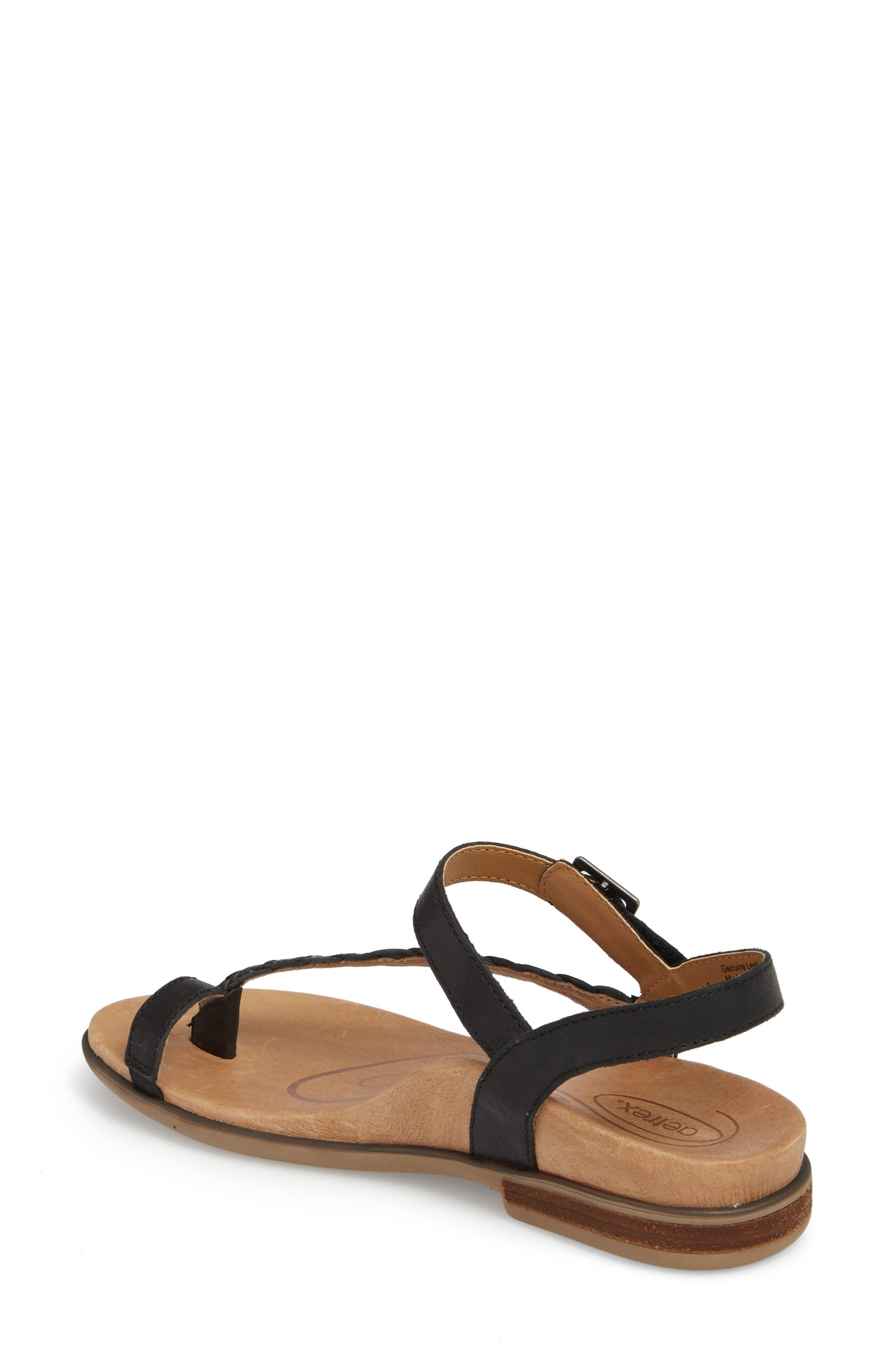 AETREX, Evie Braided Strap Sandal, Alternate thumbnail 2, color, BLACK LEATHER