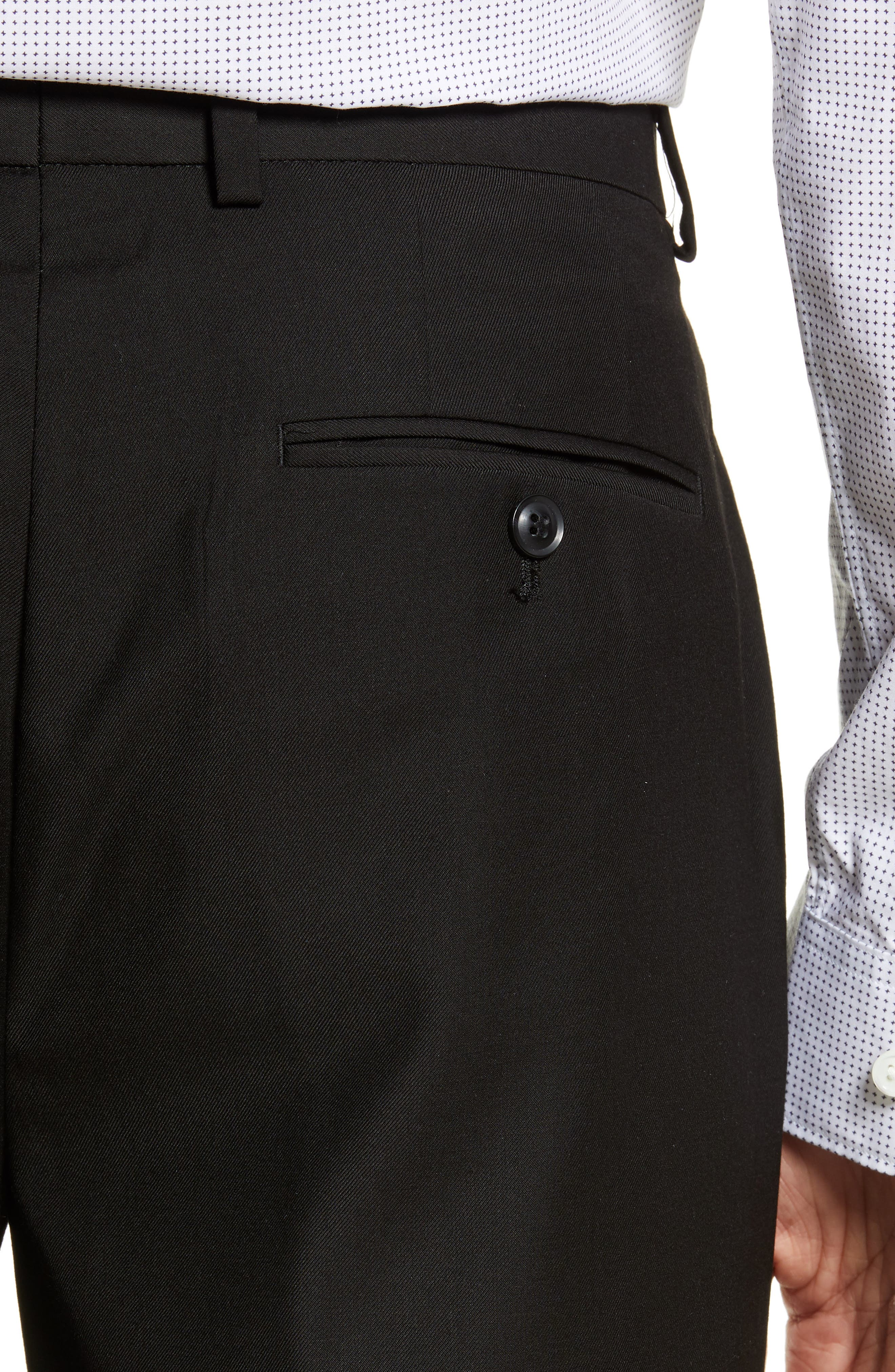 TOPMAN, Black Skinny Fit Trousers, Alternate thumbnail 5, color, BLACK