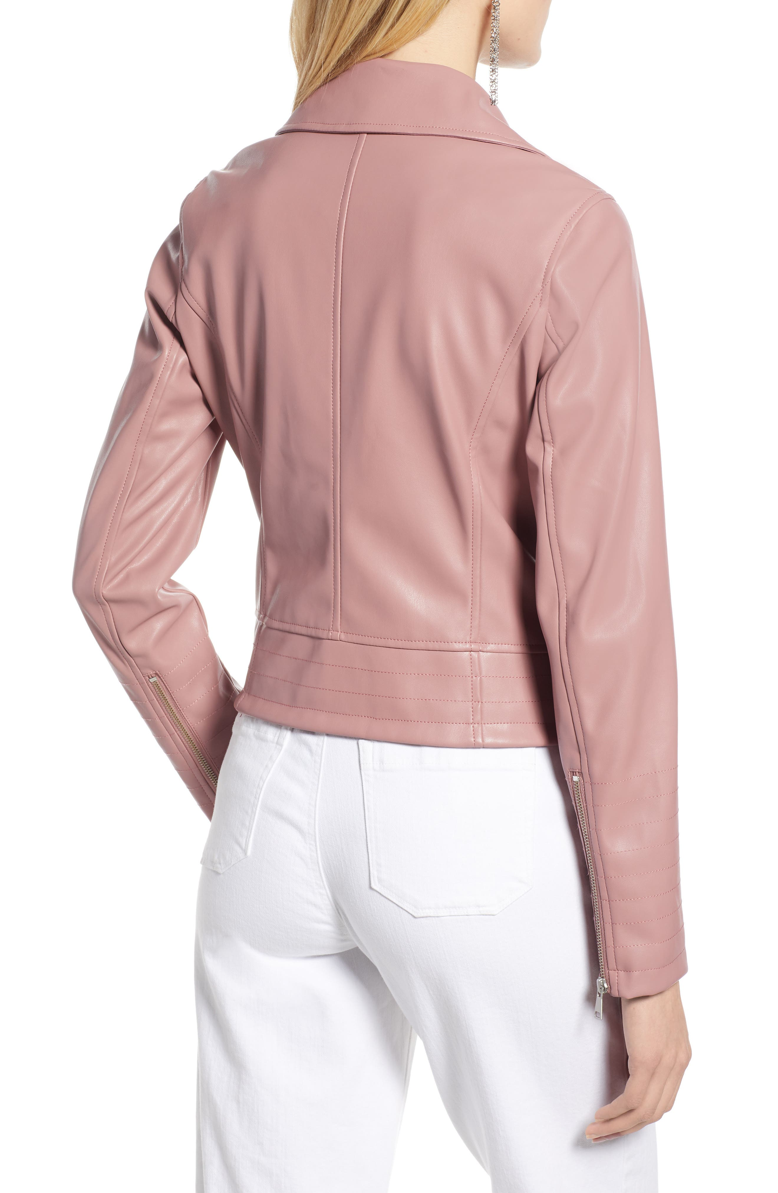 HALOGEN<SUP>®</SUP>, Quilted Faux Leather Moto Jacket, Alternate thumbnail 2, color, ROUGE