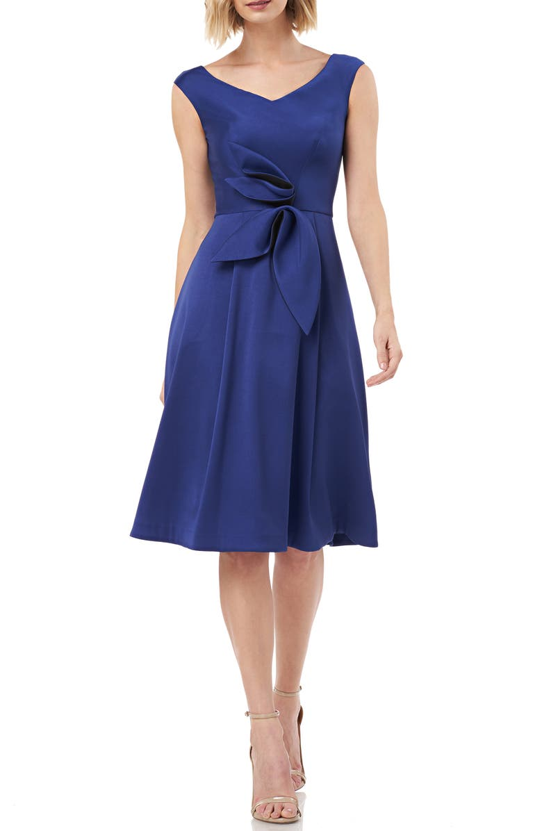Kay Unger Dresses SLEEVELESS STRETCH MIKADO FIT & FLARE DRESS
