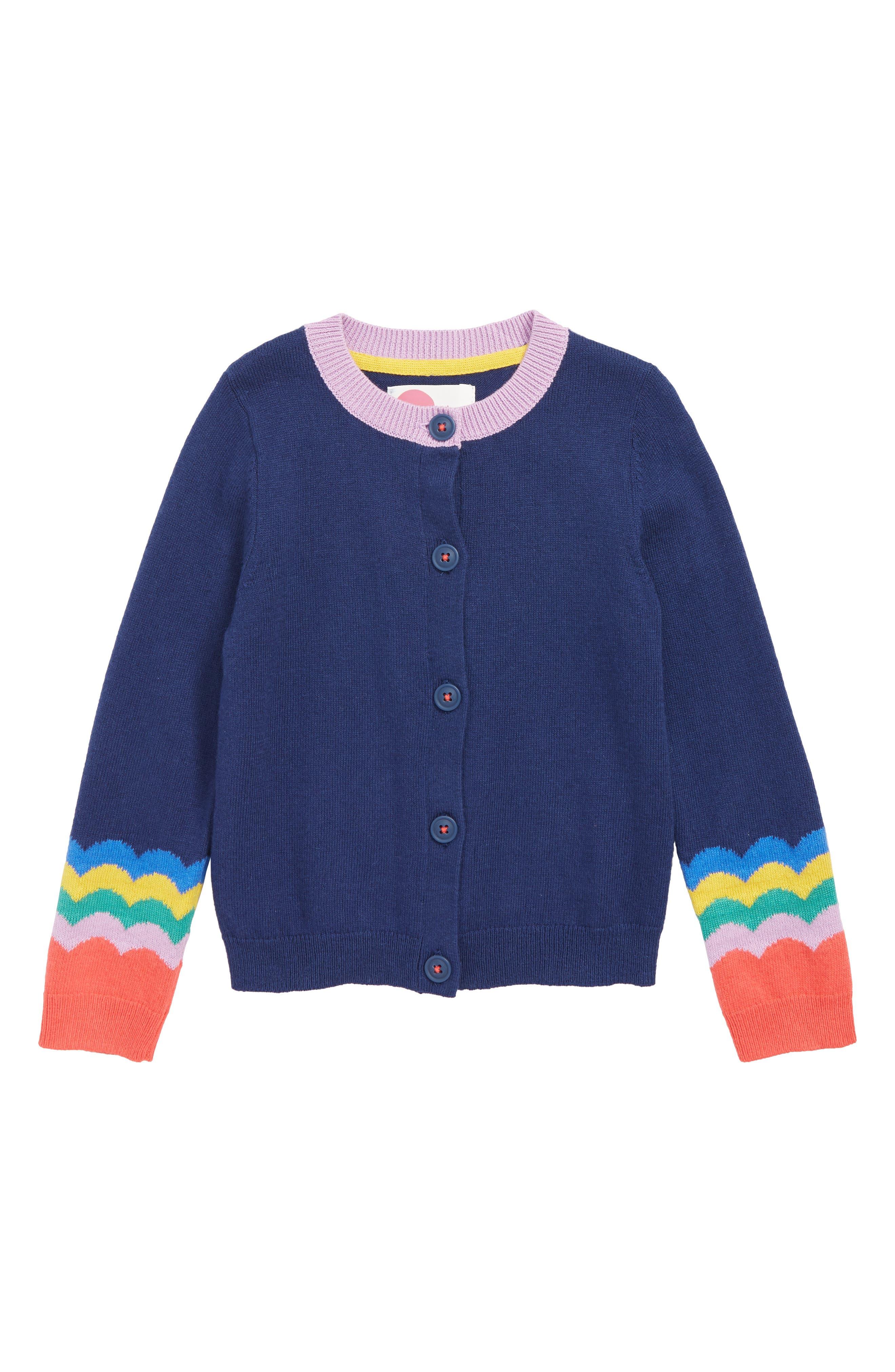 Toddler Girls Mini Boden Fun Cardigan Size 34Y  Blue