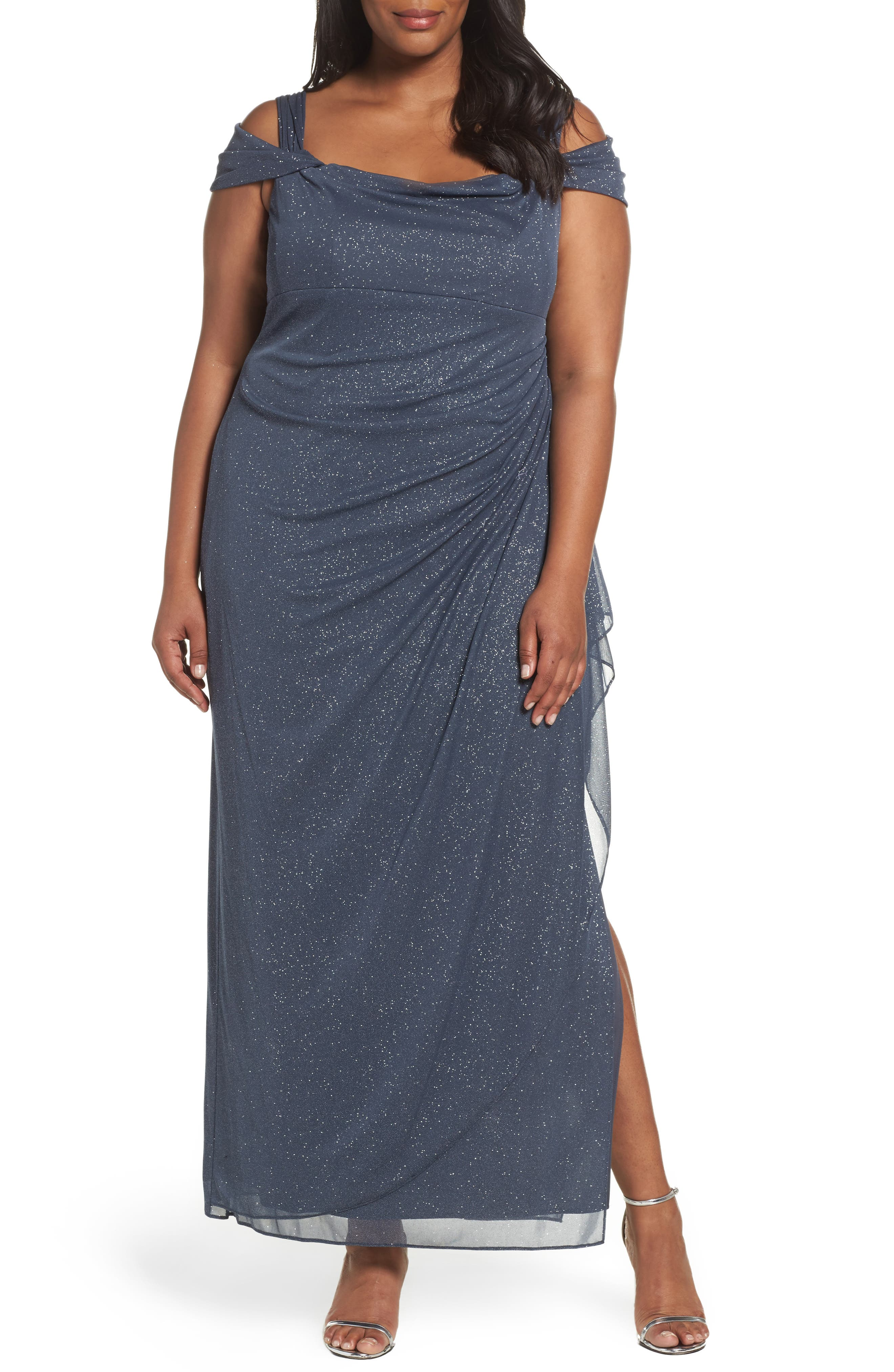 Plus Size Alex Evenings Cold Shoulder Sheath Gown, Grey