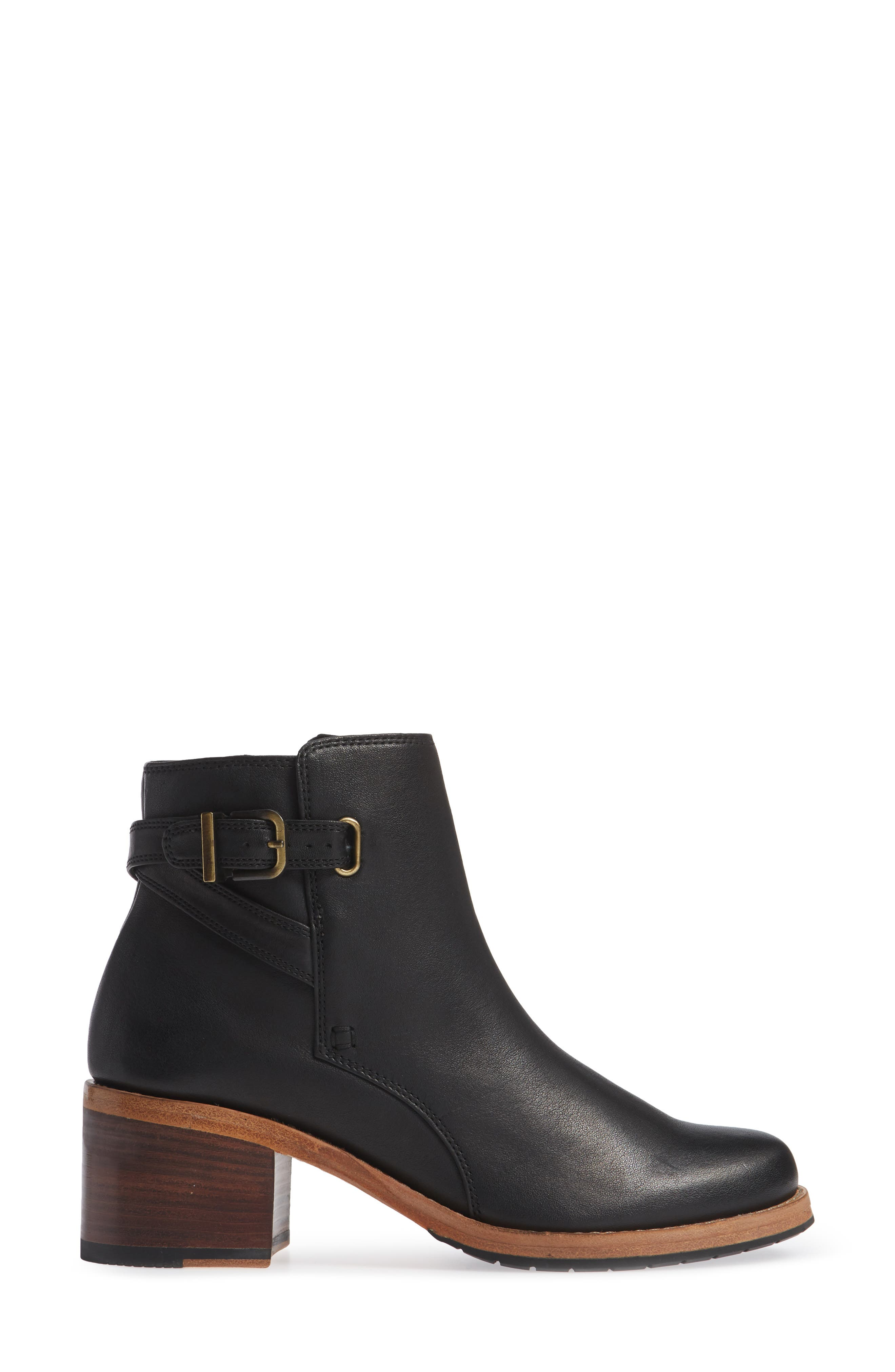 CLARKS<SUP>®</SUP>, Clarkdale Jax Bootie, Alternate thumbnail 3, color, BLACK LEATHER