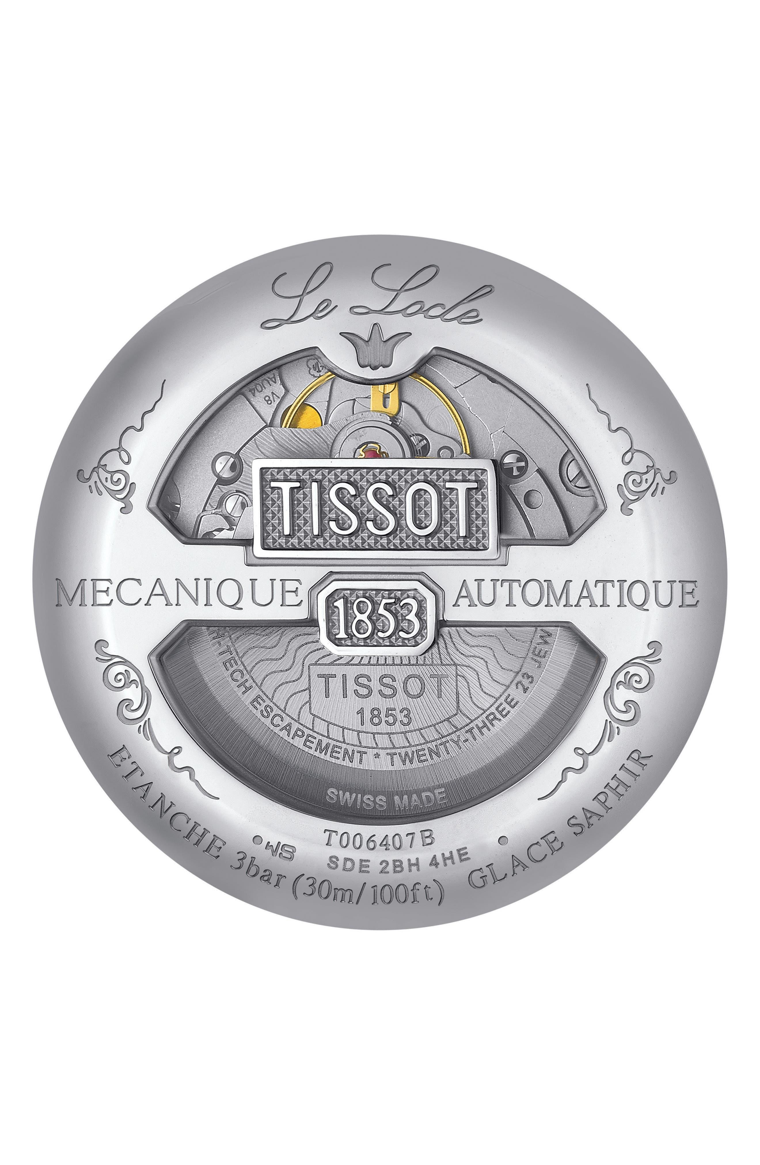 TISSOT, Le Locle Bracelet Watch, 39mm, Alternate thumbnail 2, color, SILVER