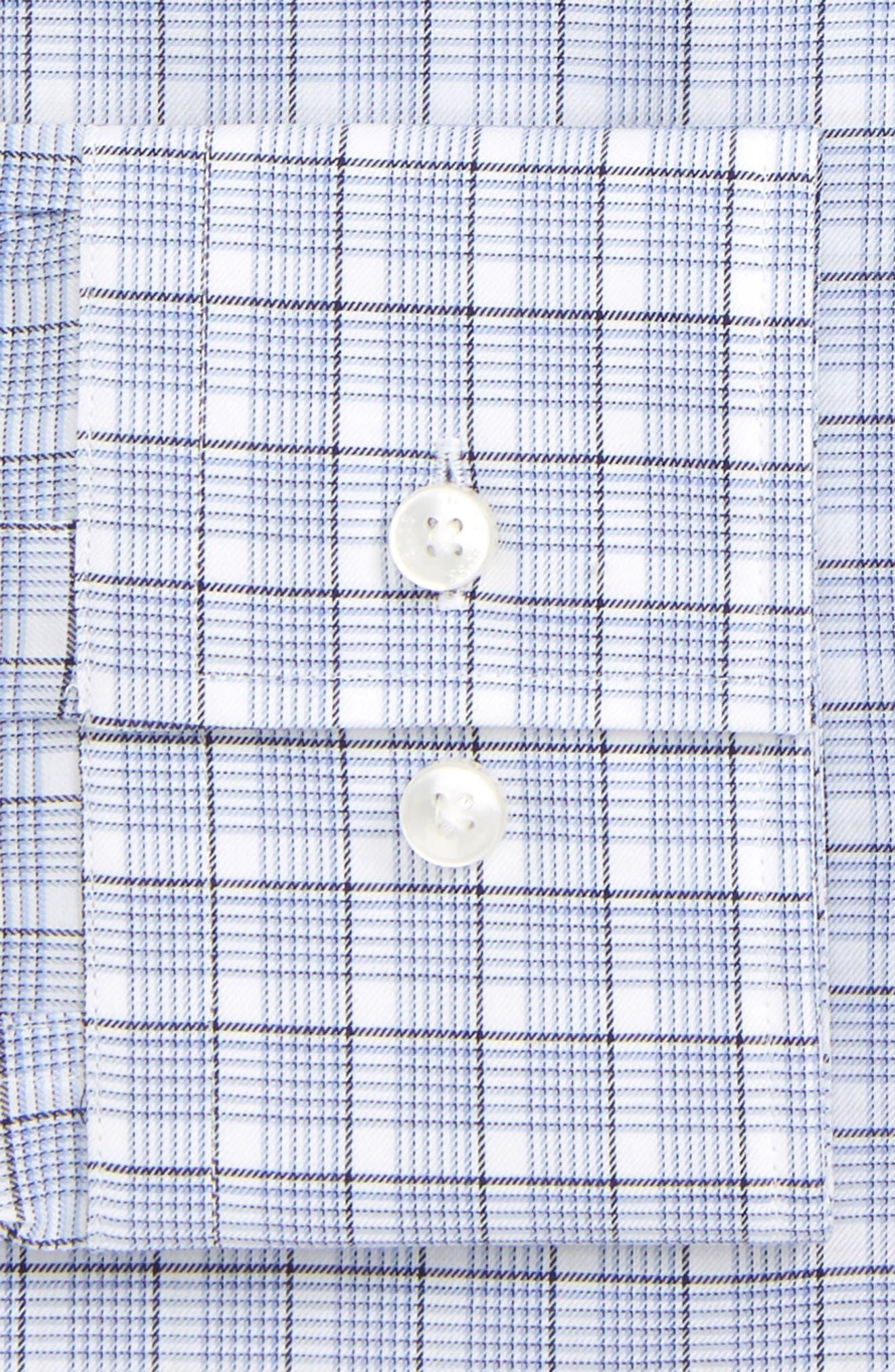 BOSS, Jenno Slim Fit Plaid Dress Shirt, Alternate thumbnail 6, color, BLUE