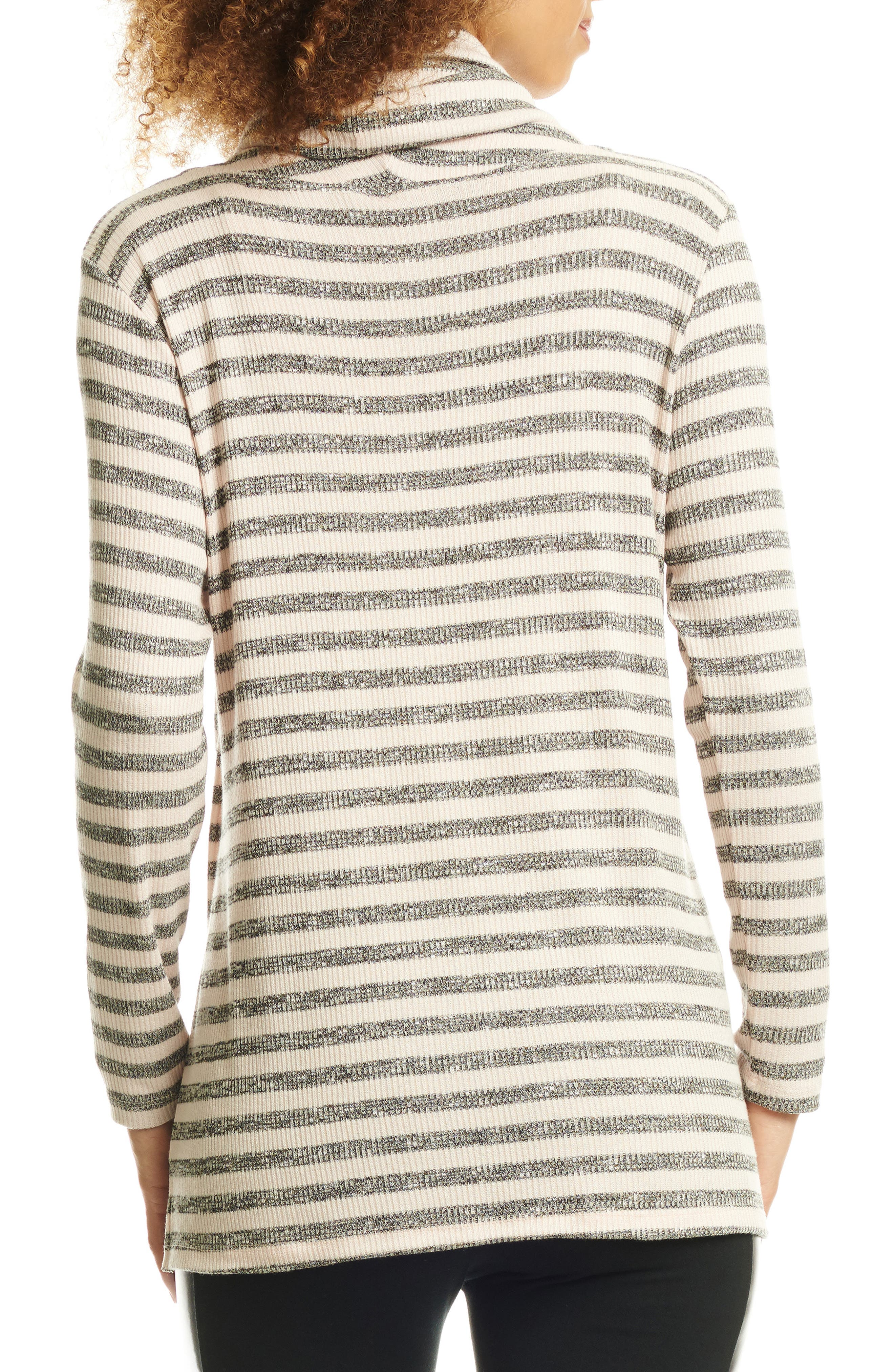 EVERLY GREY, Reina Cowl Neck Maternity/Nursing Top, Alternate thumbnail 2, color, CHARCOAL STRIPE