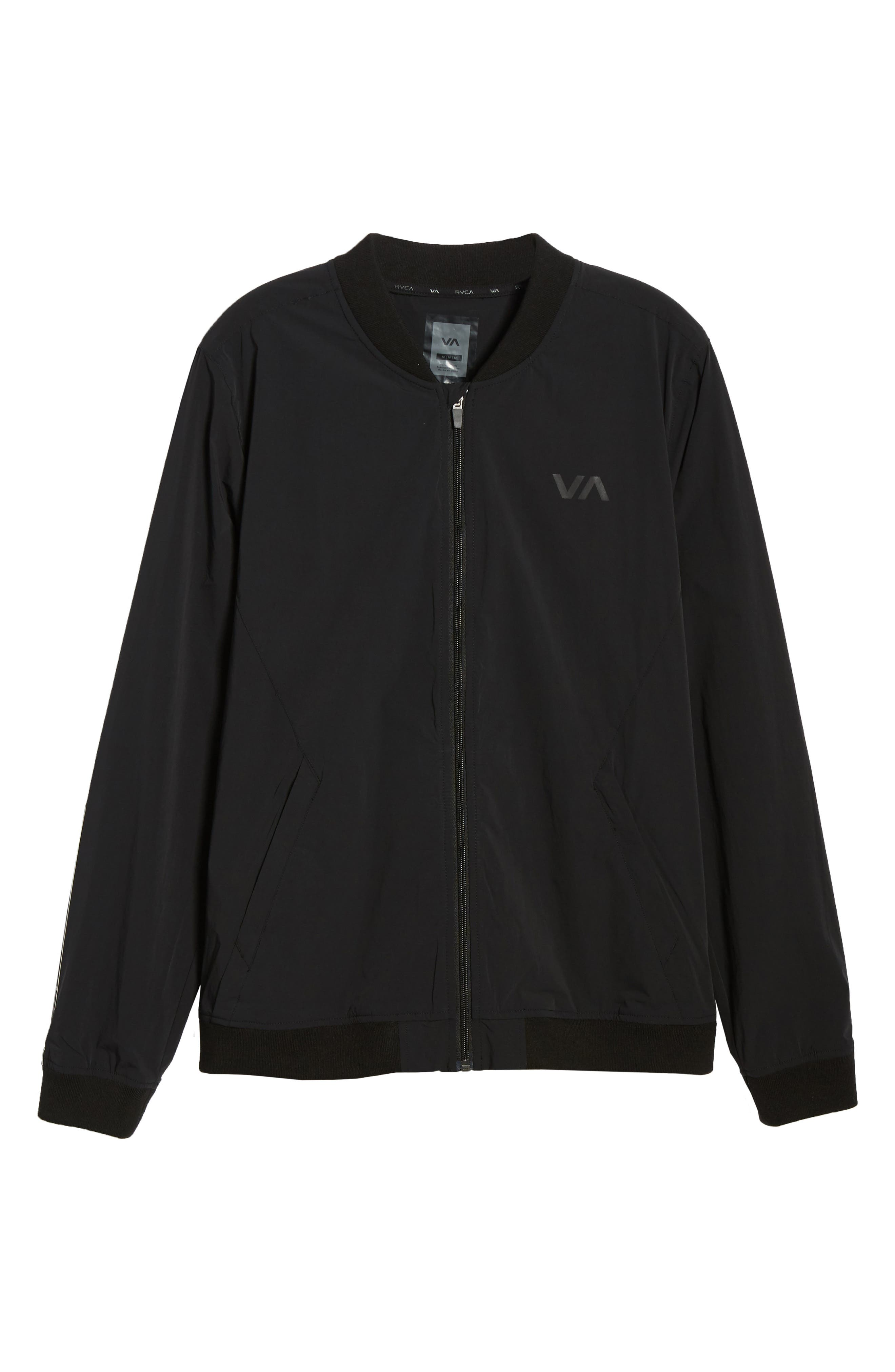 RVCA, VA Resin Bomber Jacket, Alternate thumbnail 2, color, BLACK