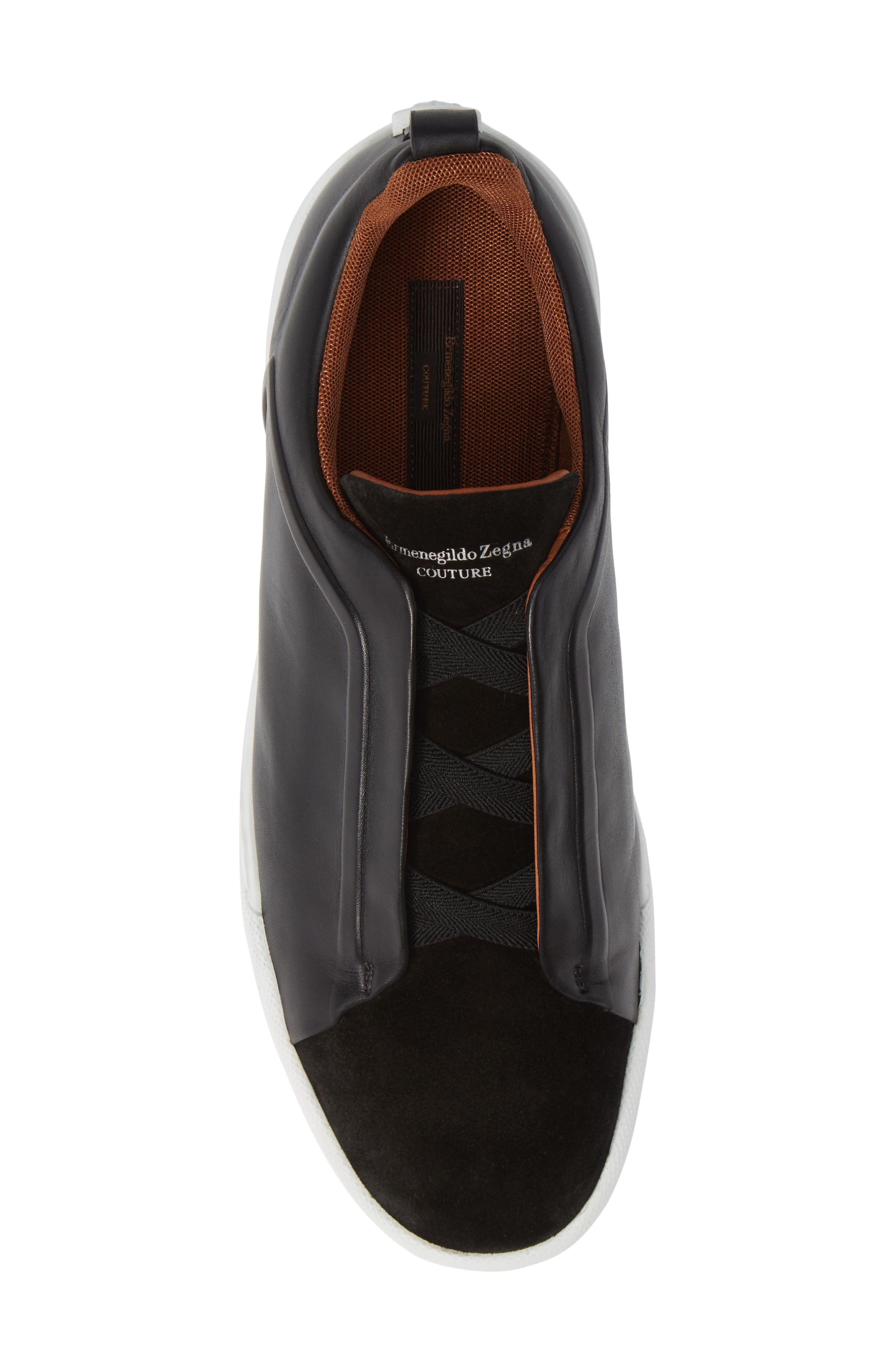 ERMENEGILDO ZEGNA, Slip-On Sneaker, Alternate thumbnail 5, color, BLACK