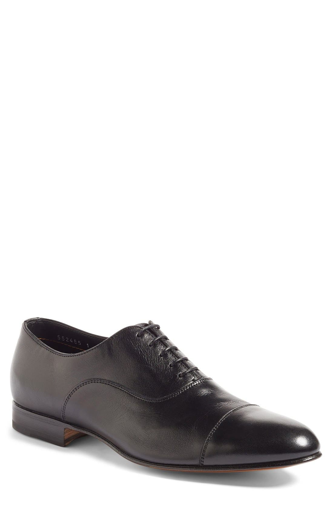 SANTONI, Darian Cap Toe Oxford, Main thumbnail 1, color, BLACK LEATHER