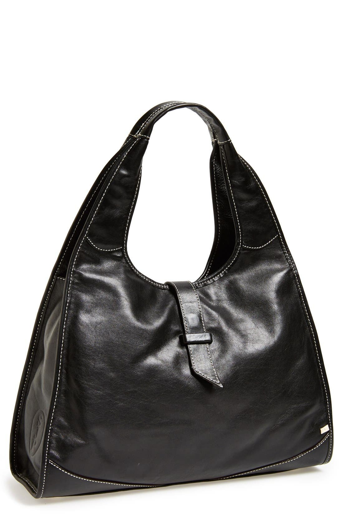 SJP BY SARAH JESSICA PARKER, 'New Yorker' Leather Hobo, Main thumbnail 1, color, 001