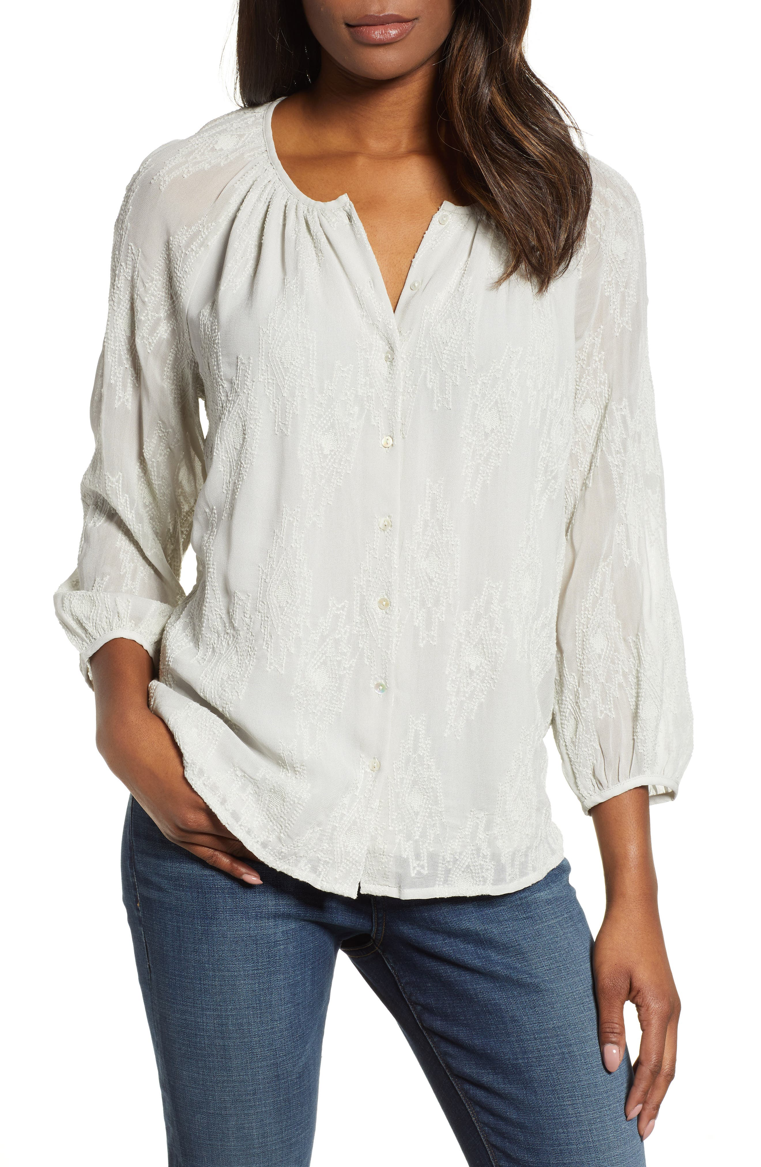 LUCKY BRAND, Geo Embroidered Top, Main thumbnail 1, color, PALE BLUE